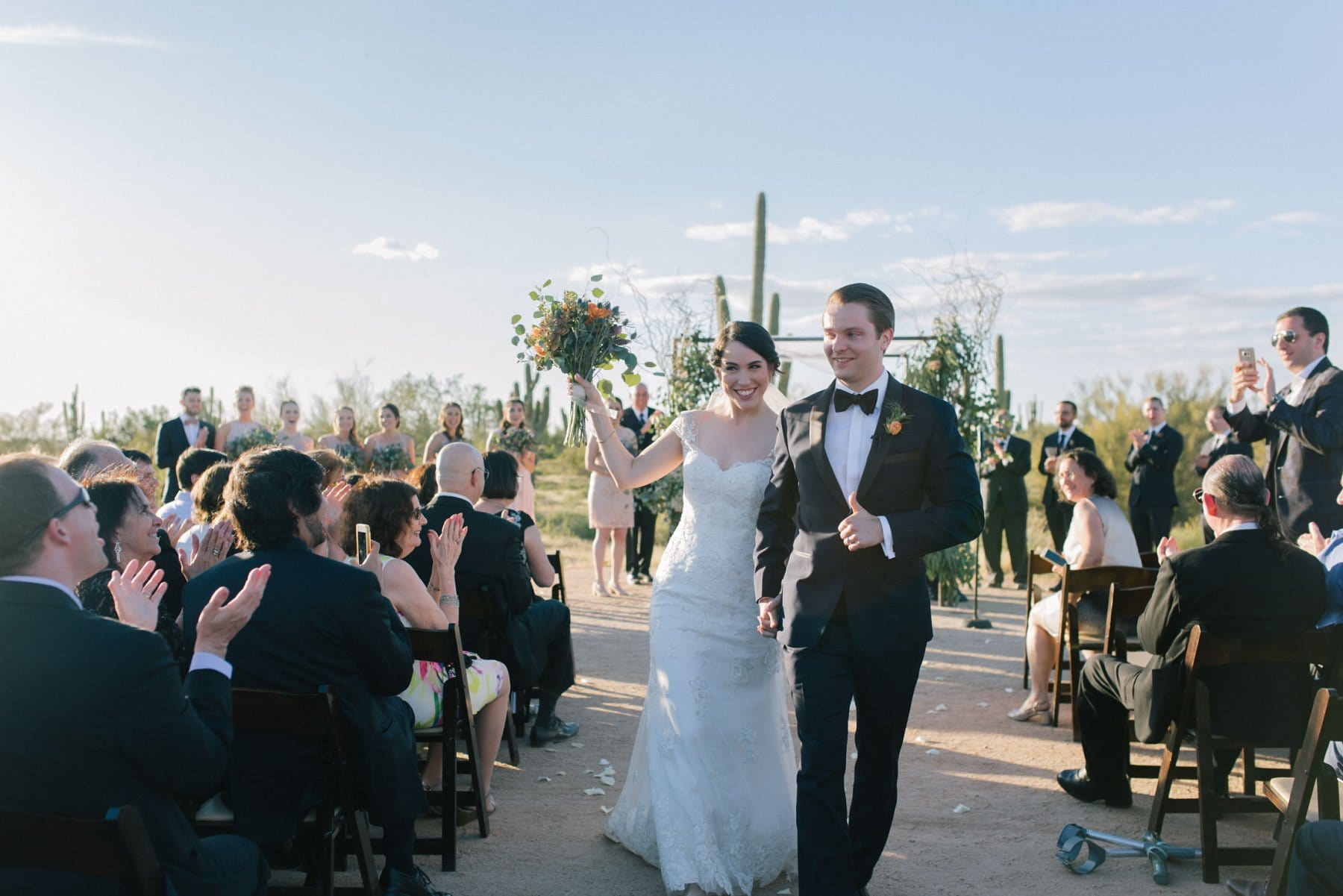 Desert Foothills wedding ceremony bride and groom happy about getting married