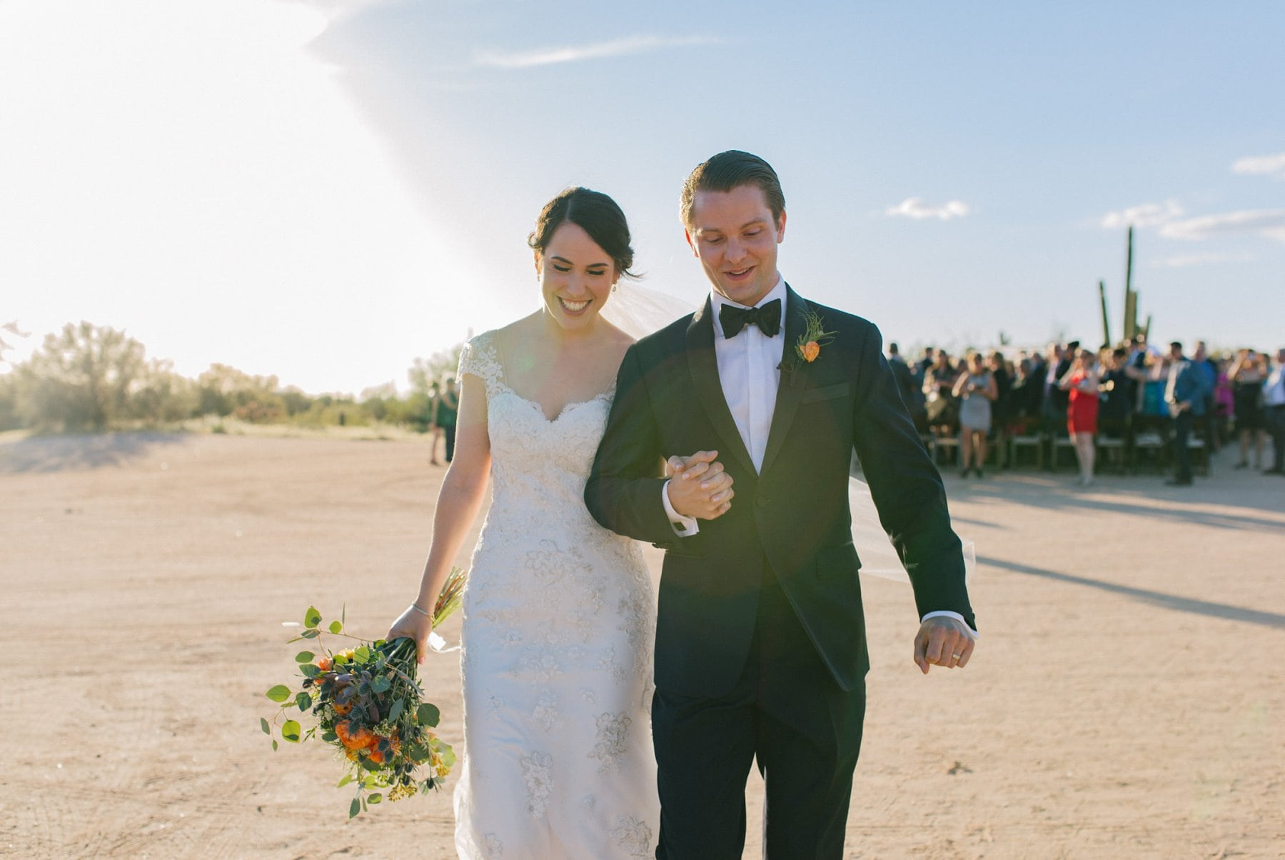 Arizona desert wedding just married Desert Foothills barn