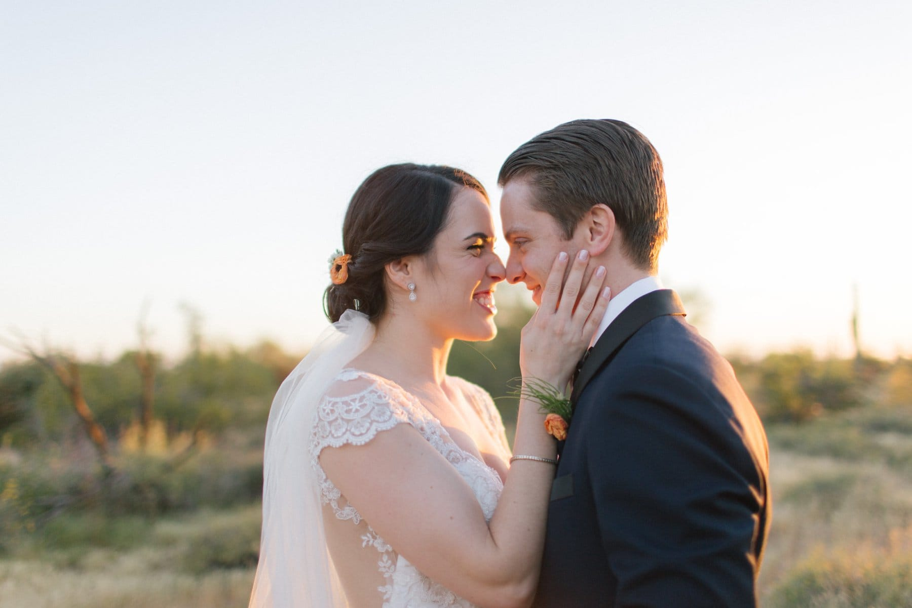 real genuine bride & groom photos in Arizona desert sunset