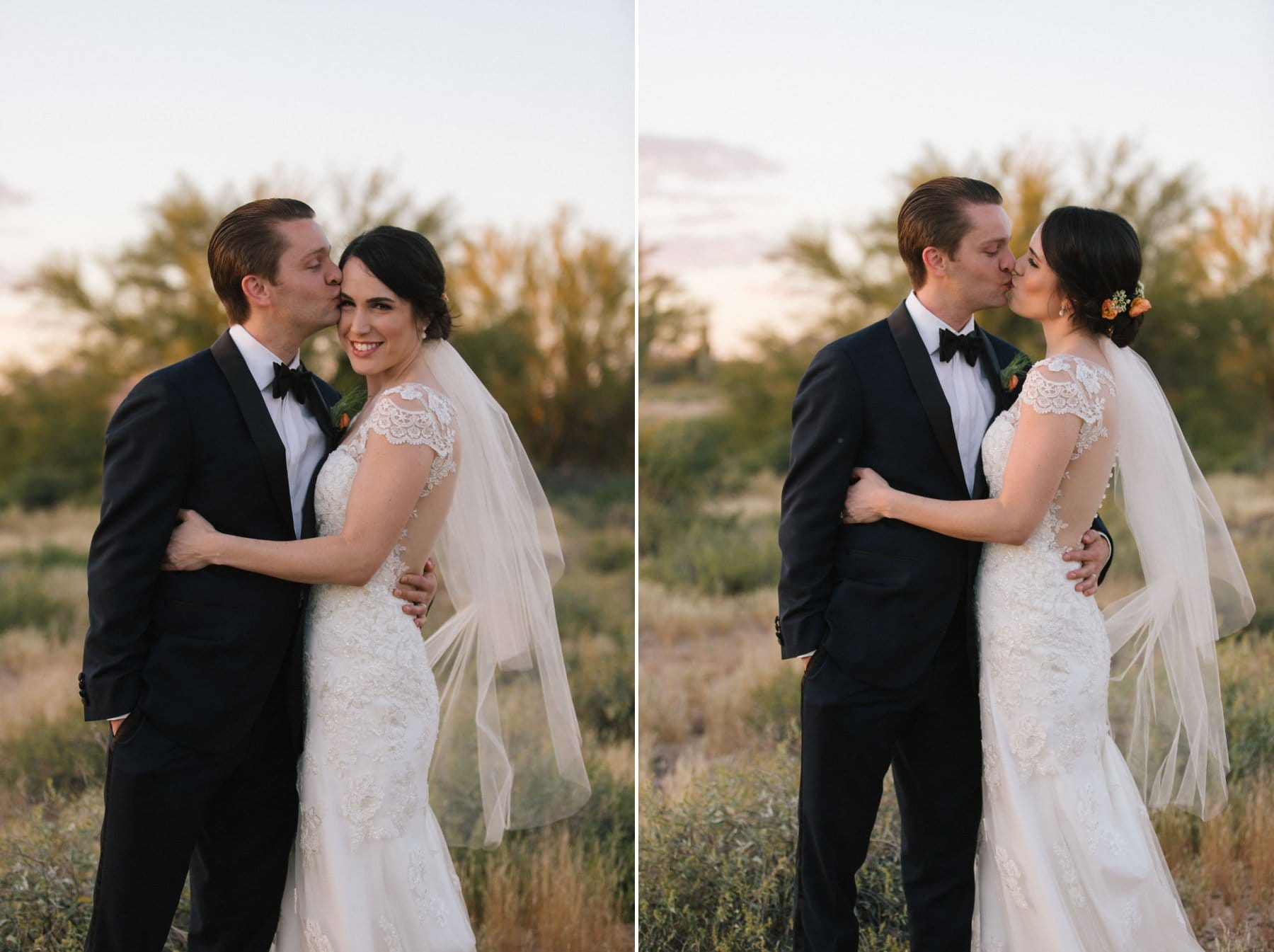 classy bride and groom in Arizona desert