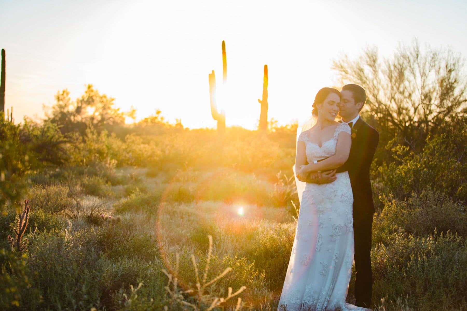 Desert Foothills wedding photographer bride and groom at sunset in Arizona desert