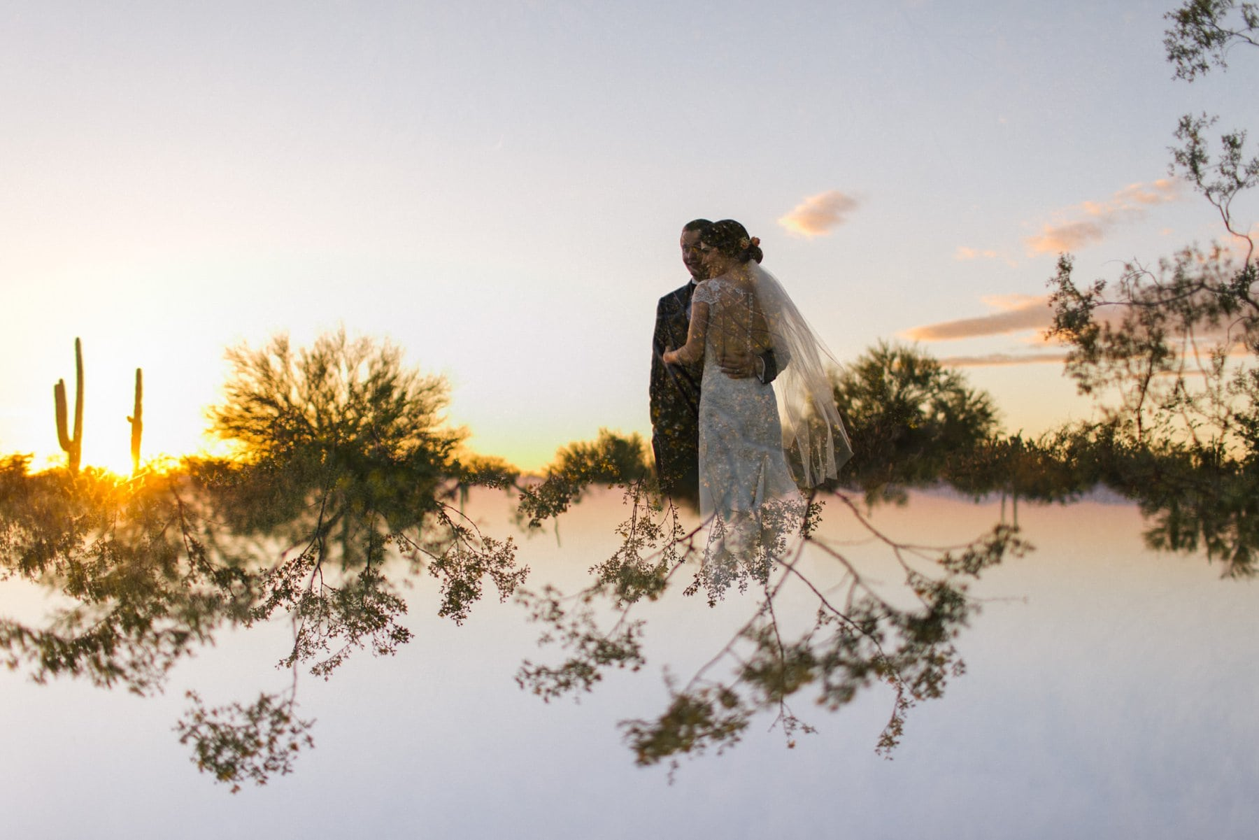 artistic creative bride & groom photos Arizona double exposure at sunset