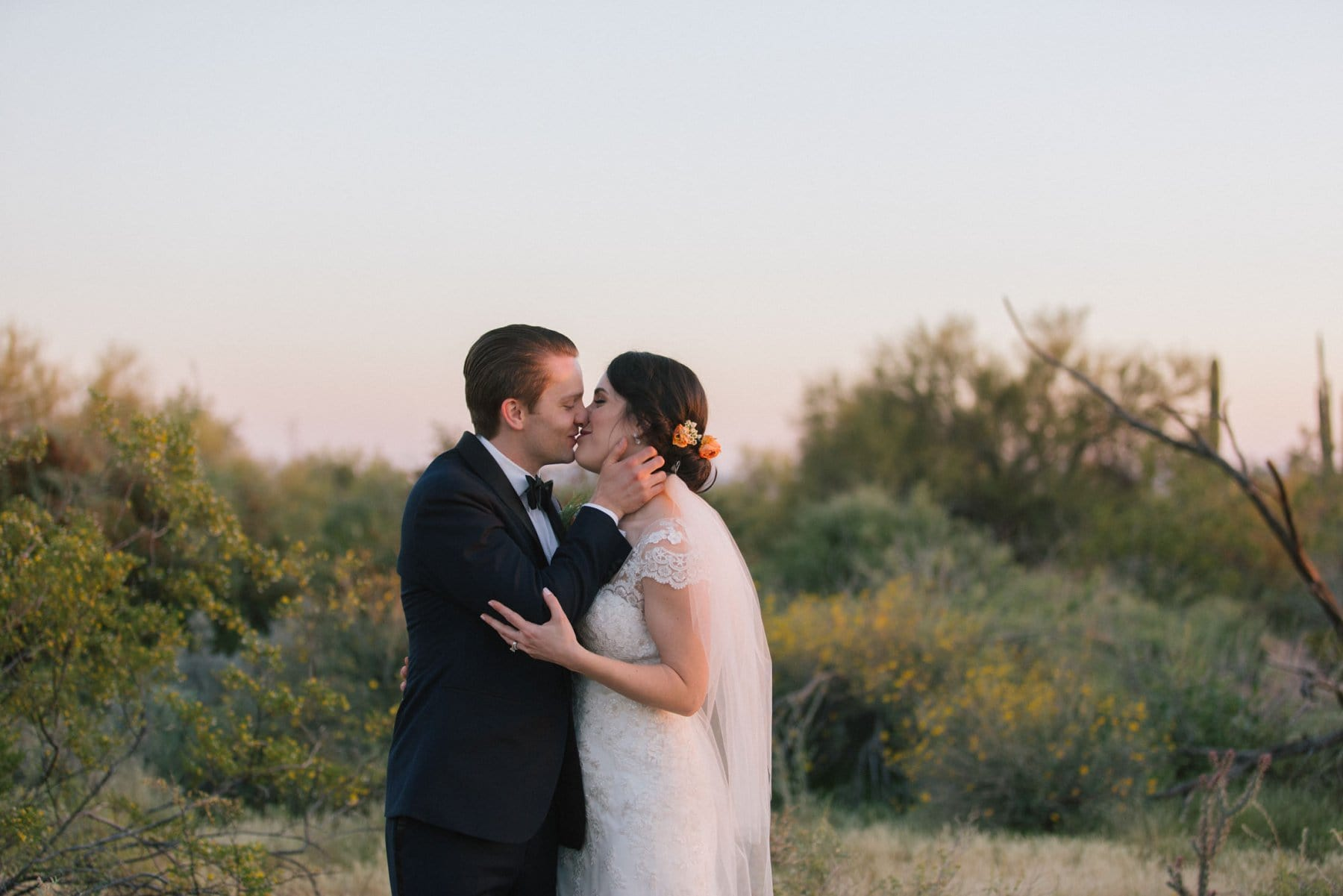 Arizona desert at sunset bride & groom natural real photos