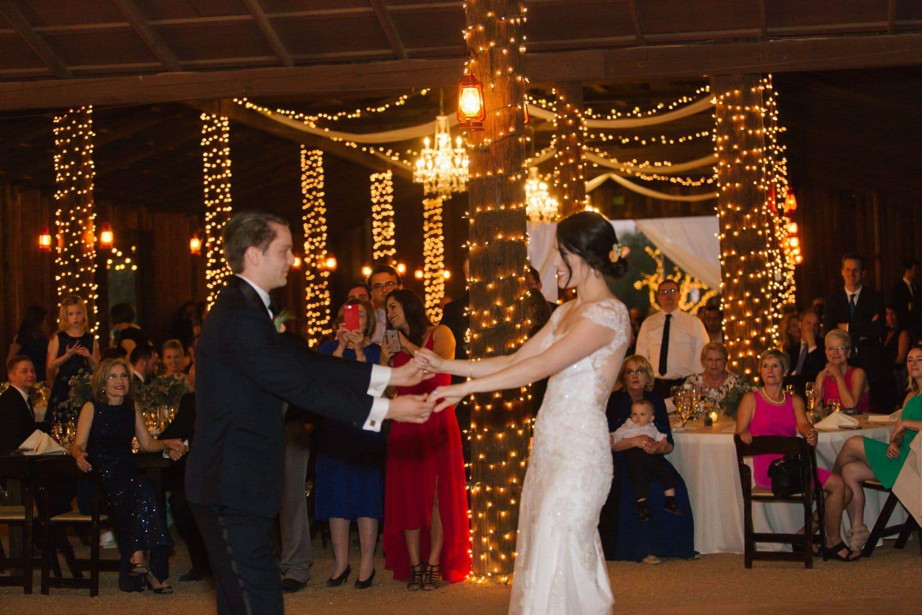 Desert Foothills barn wedding Arizona first dance