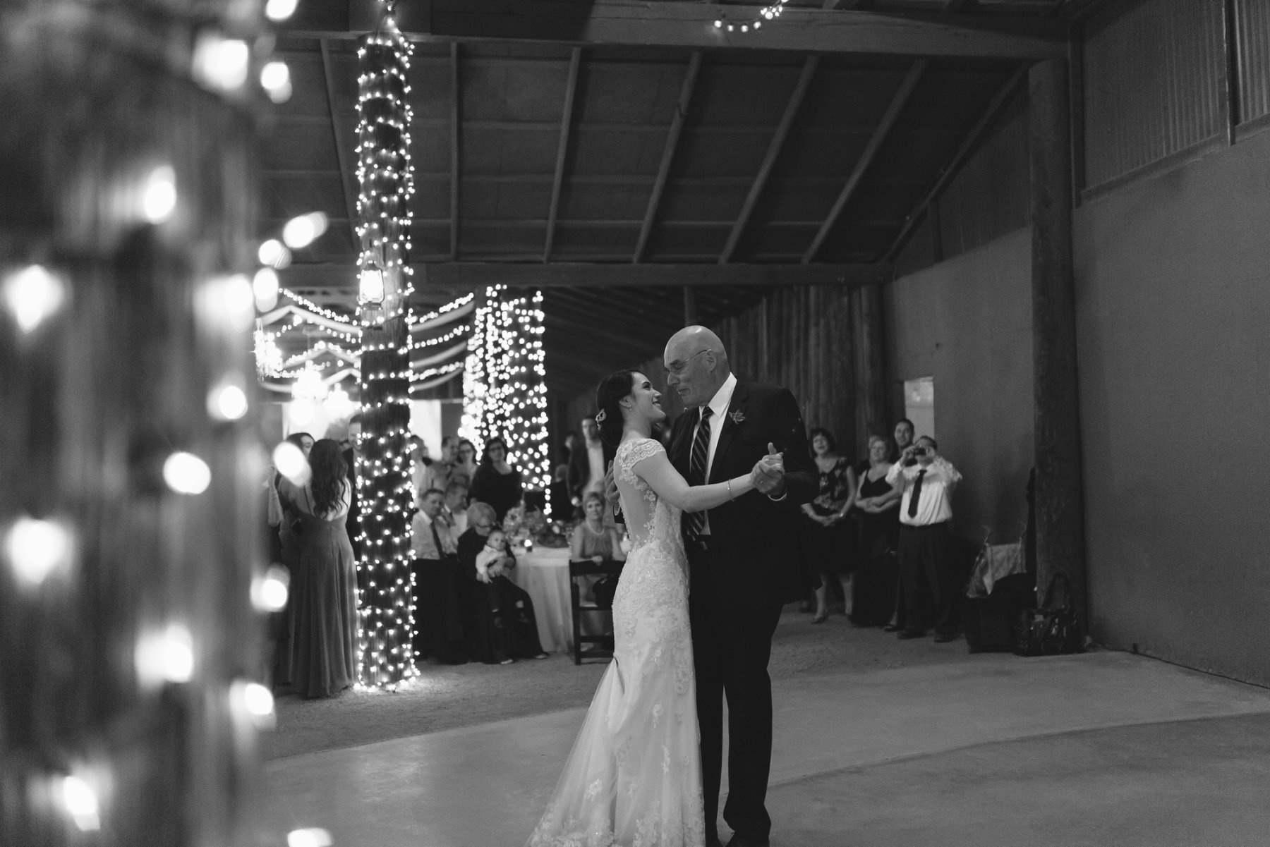 father daughter first dance at Desert Foothills barn wedding