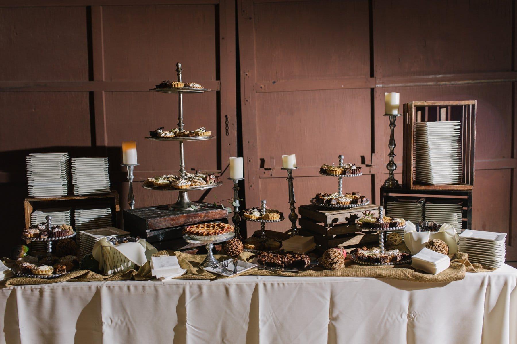 Desert Foothills barn wedding dessert table with pie