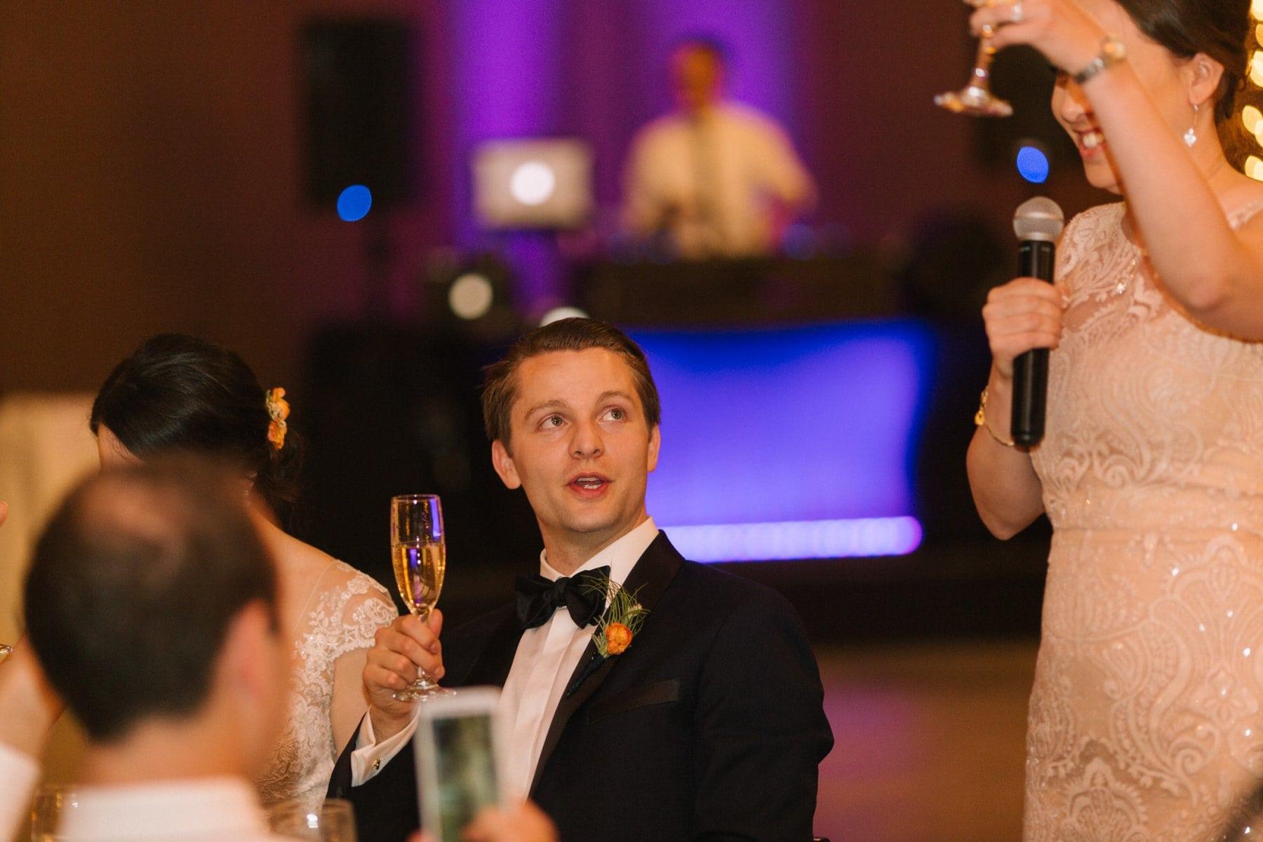 elegant rustic Desert Foothills barn wedding reception toasts documentary photographer