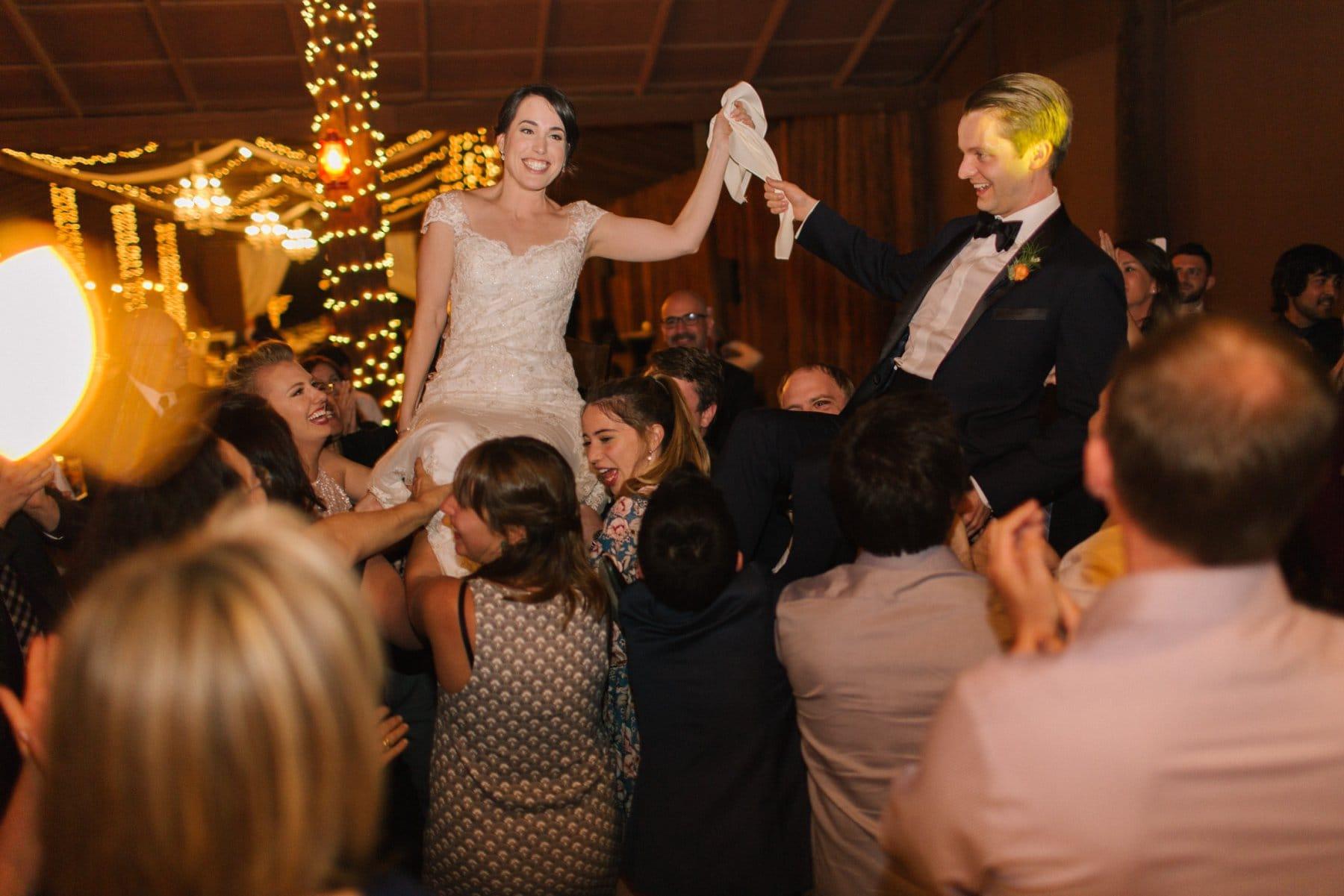 wedding horah at Desert Foothills barn elegant Jewish wedding