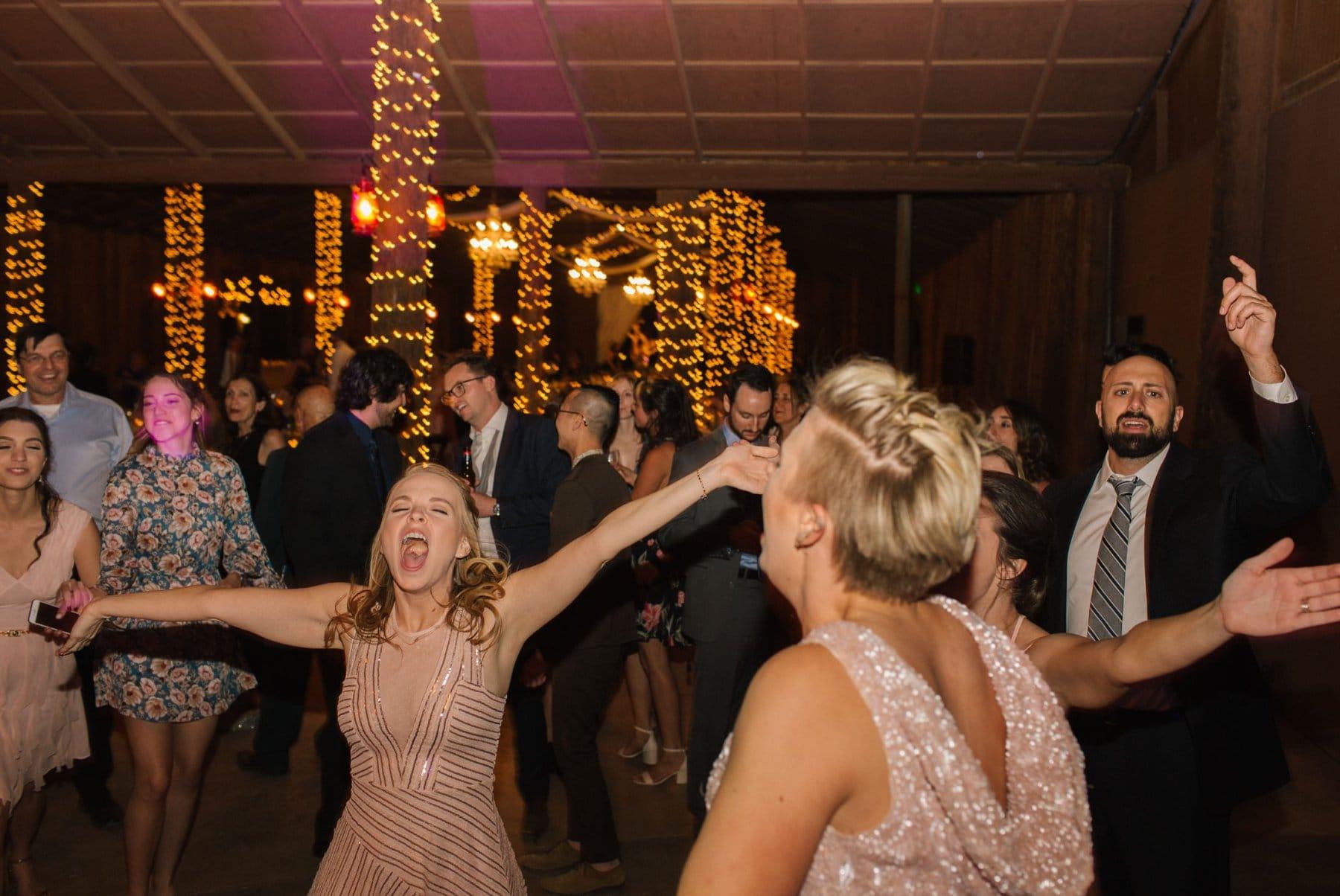 elegant rustic barn wedding Desert Foothills reception dancing