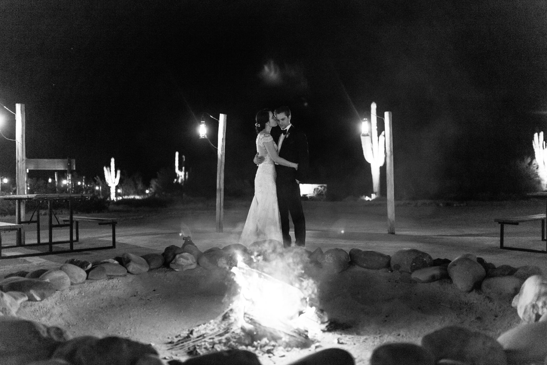 bride & groom in front of campire at Desert Foothills photographer