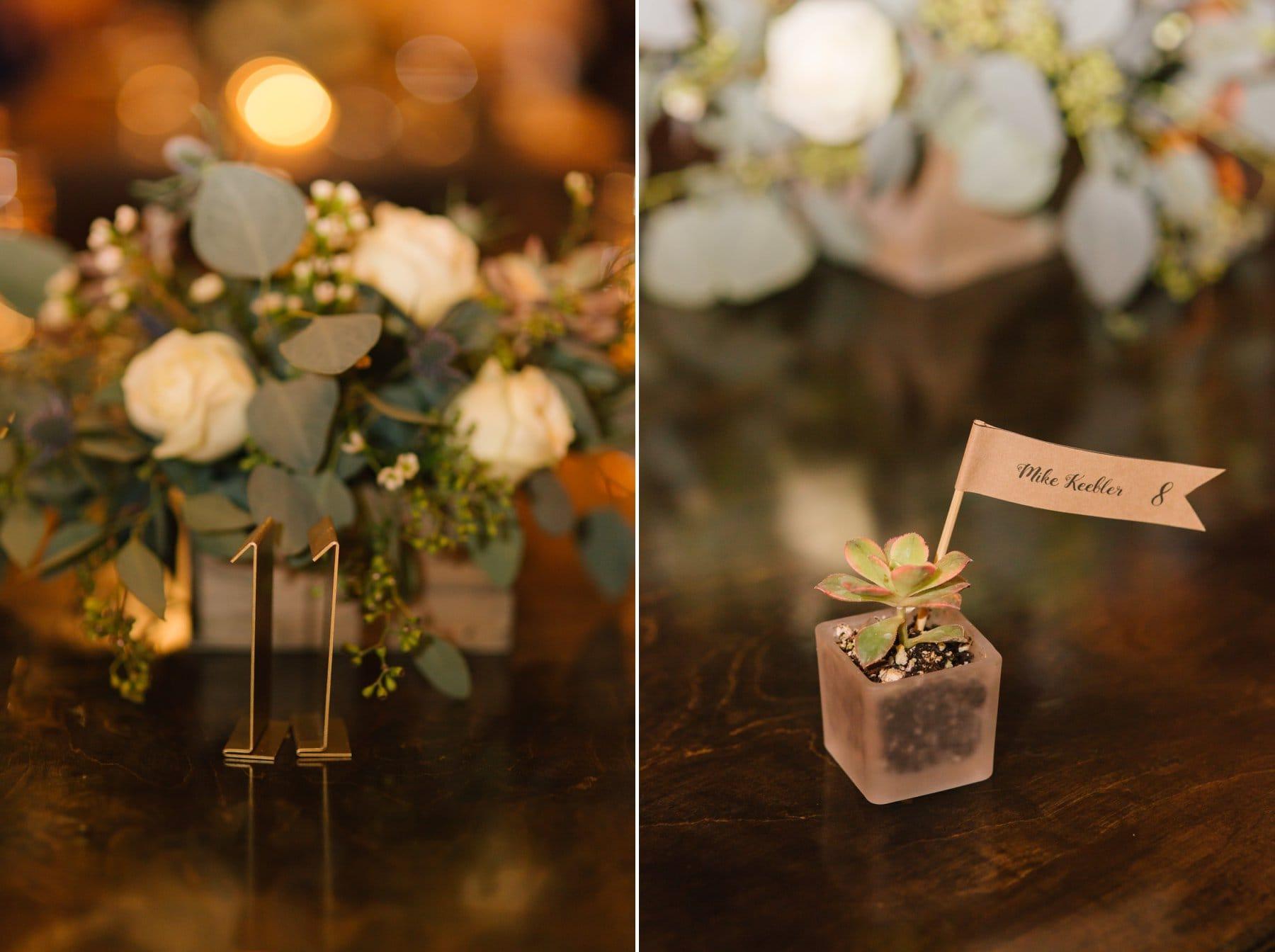 elegant rustic wedding decor metal table numbers and succulent favors Arizona wedding