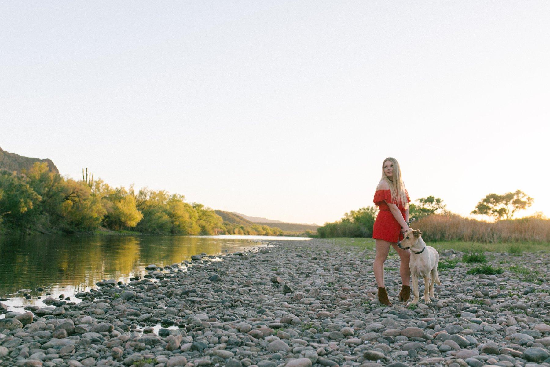 Phoenix outdoor senior portraits with a dog