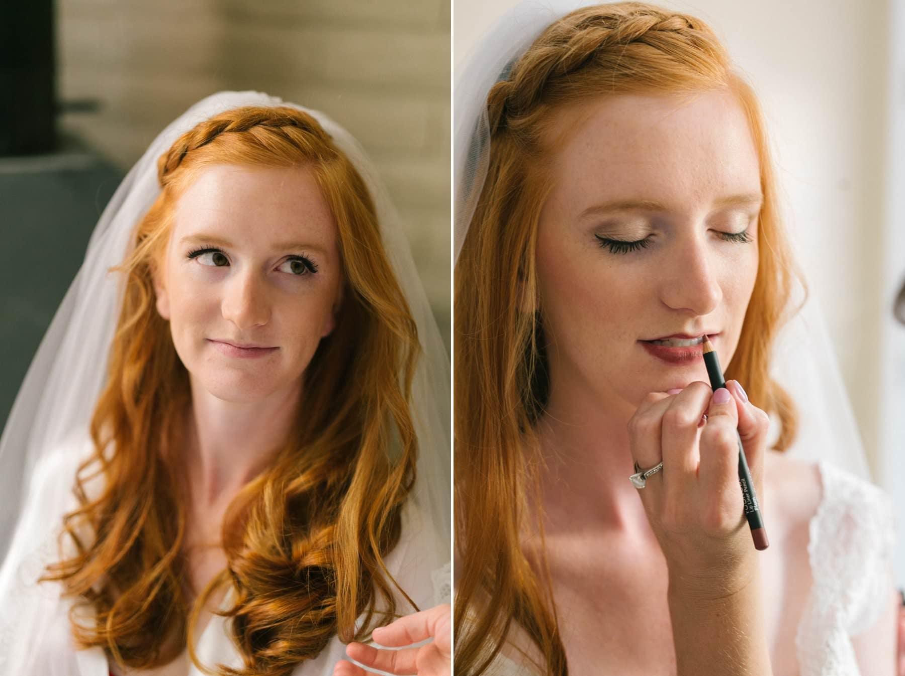 redhead bride getting ready Phoenix wedding photographer