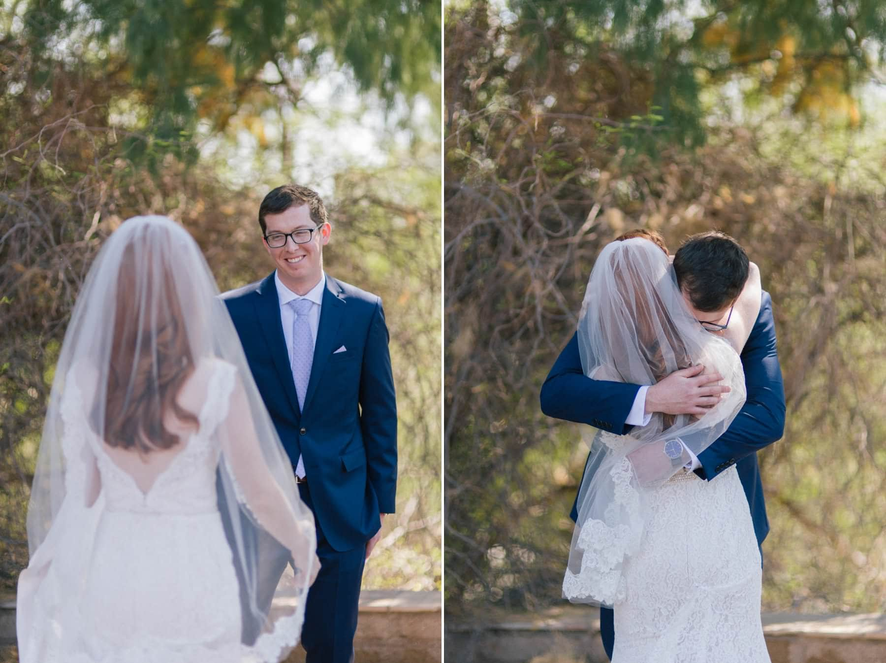 bride & groom first look at Phoenix Zoo wedding