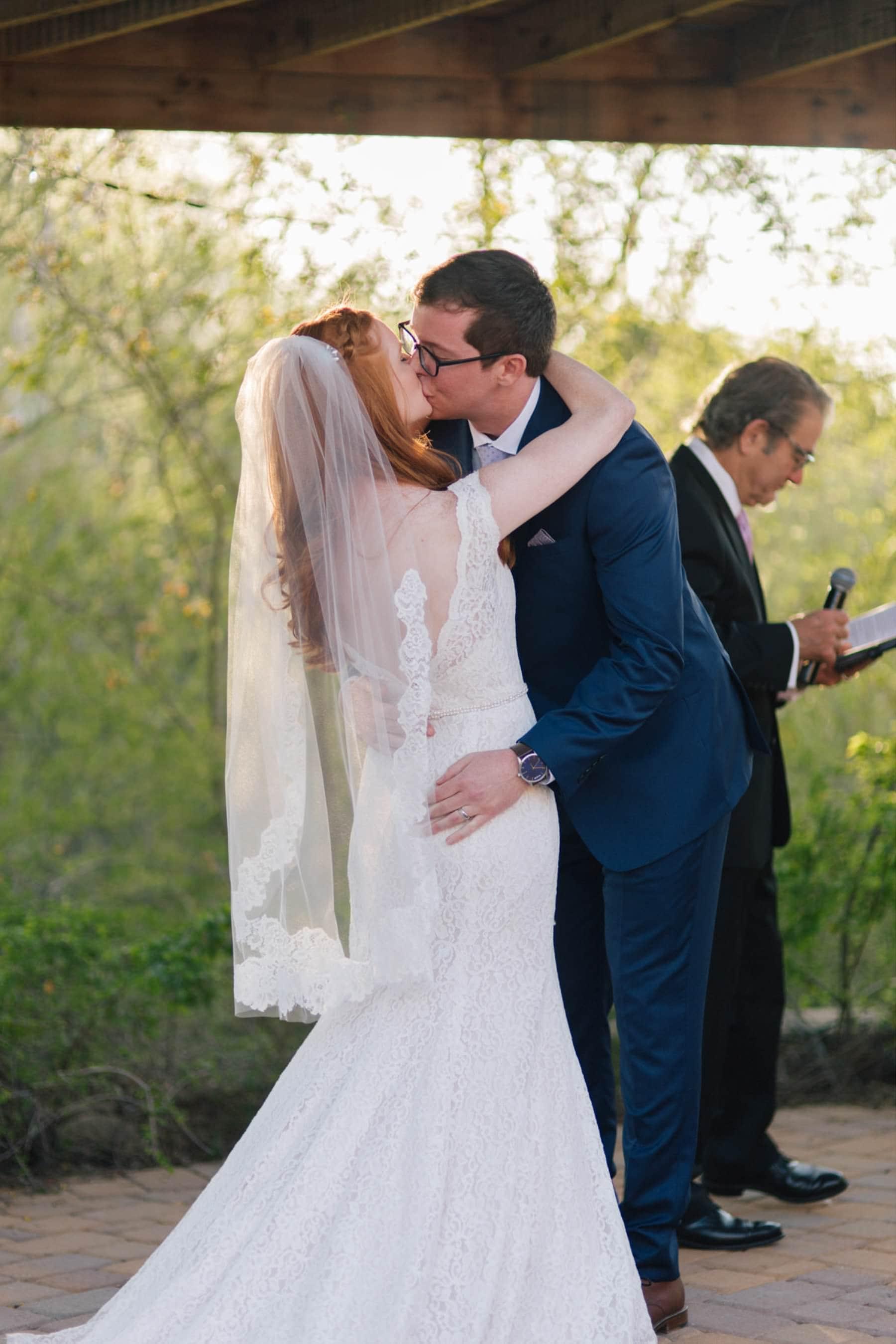 Ruby's House wedding ceremony Phoenix Zoo first kiss
