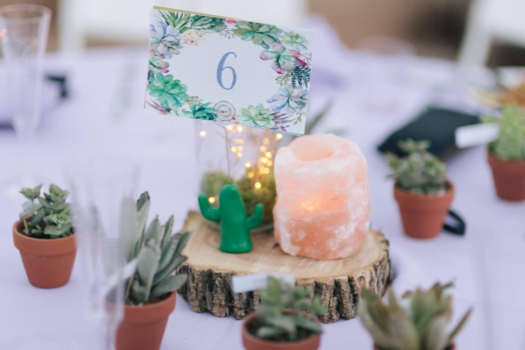 boho wedding centerpieces himalyan crystals with mini succulents