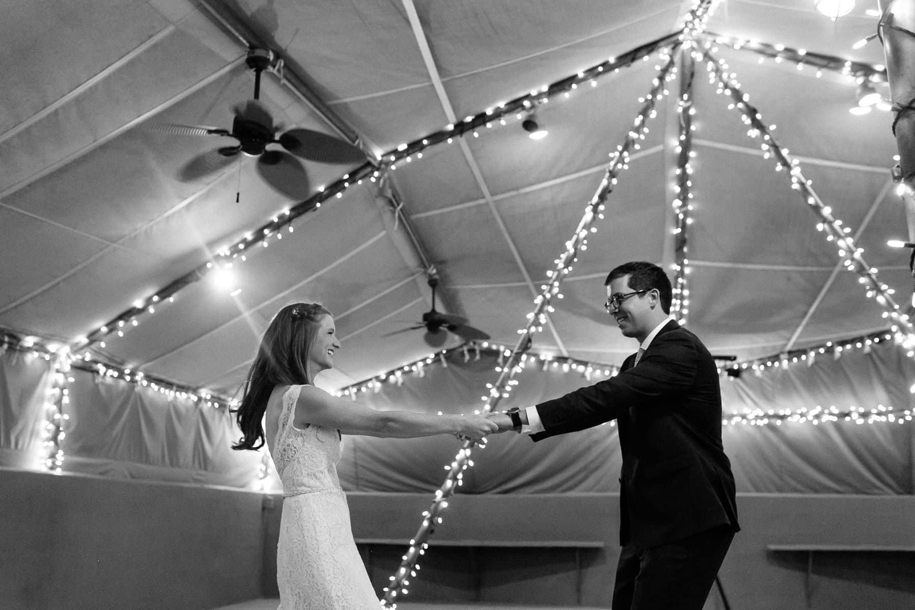 Phoenix Zoo desert tents wedding reception first dance