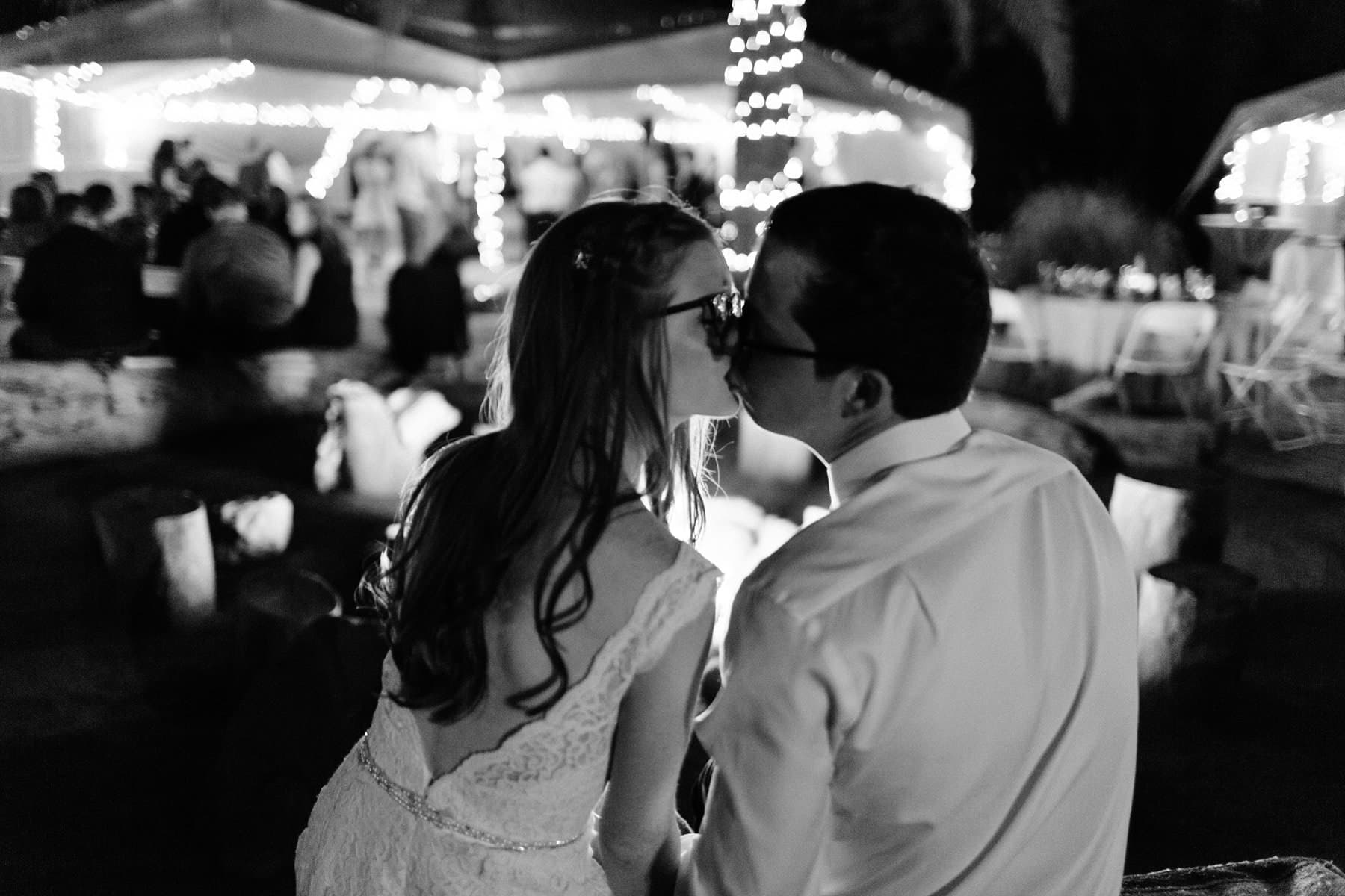 Phoenix Zoo wedding bride & groom in front of bonfire