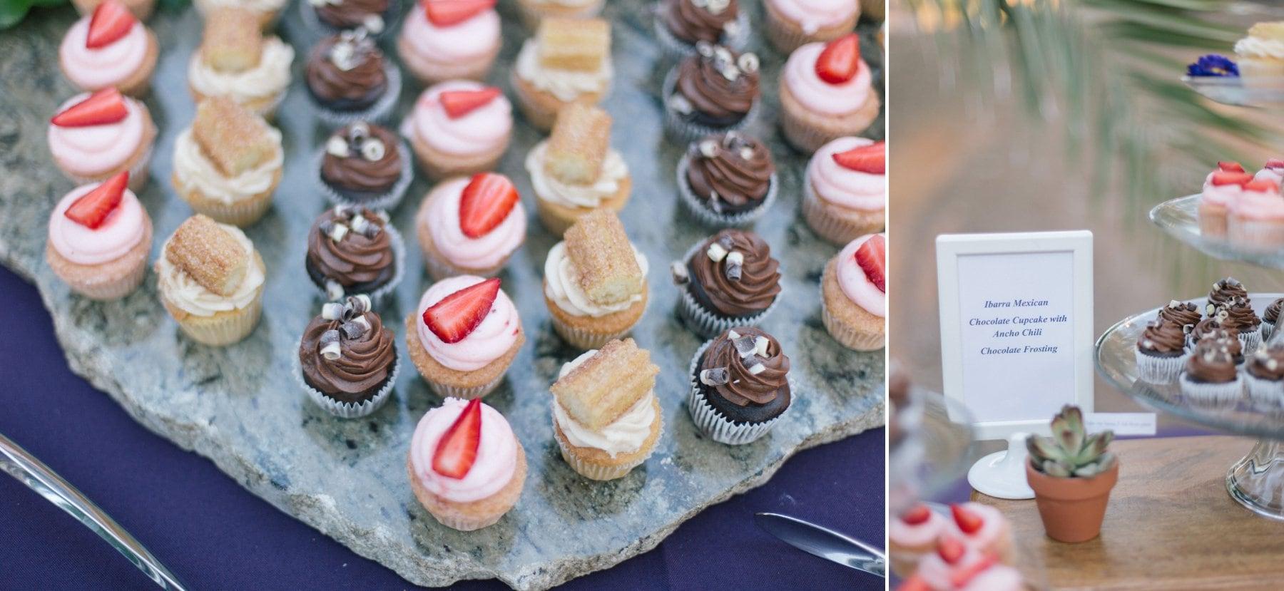 Phoenix Zoo wedding reception mini cupcakes