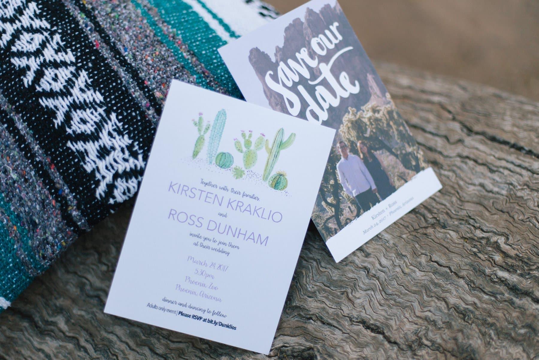 desert succulents invitation Phoenix Zoo wedding