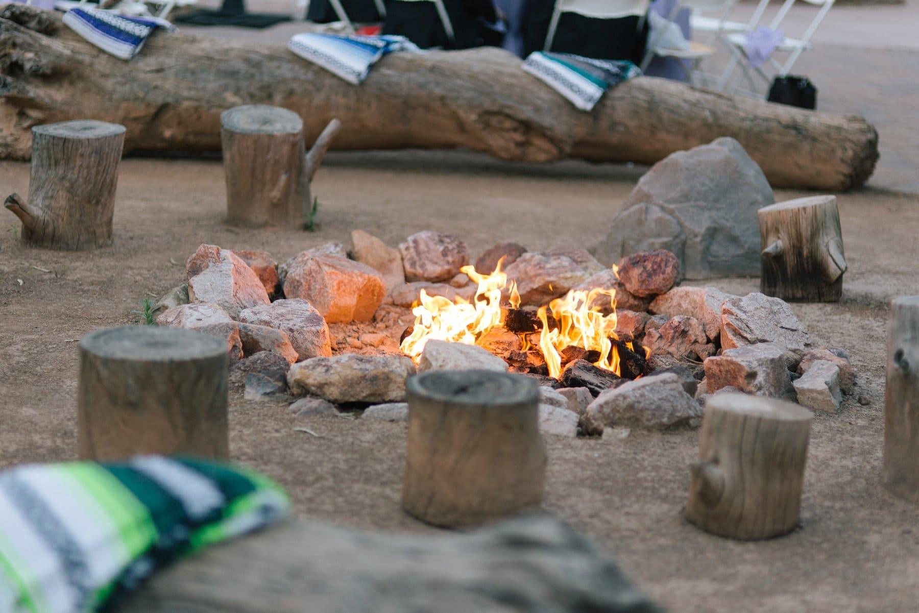 Desert Tents wedding reception bonfire Phoenix Zoo Arizona