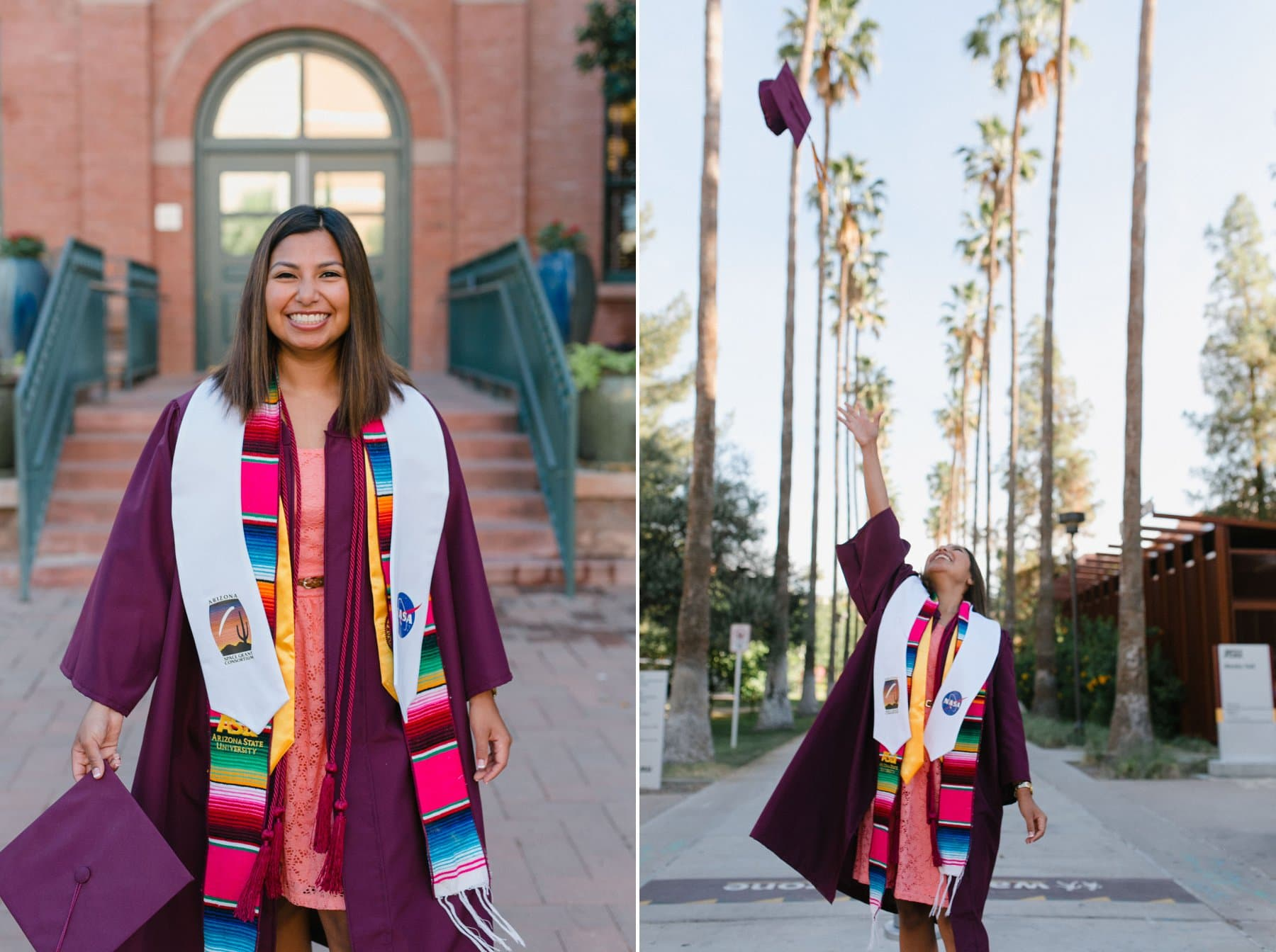ASU college senior graduate photos Hispanic convocation sash