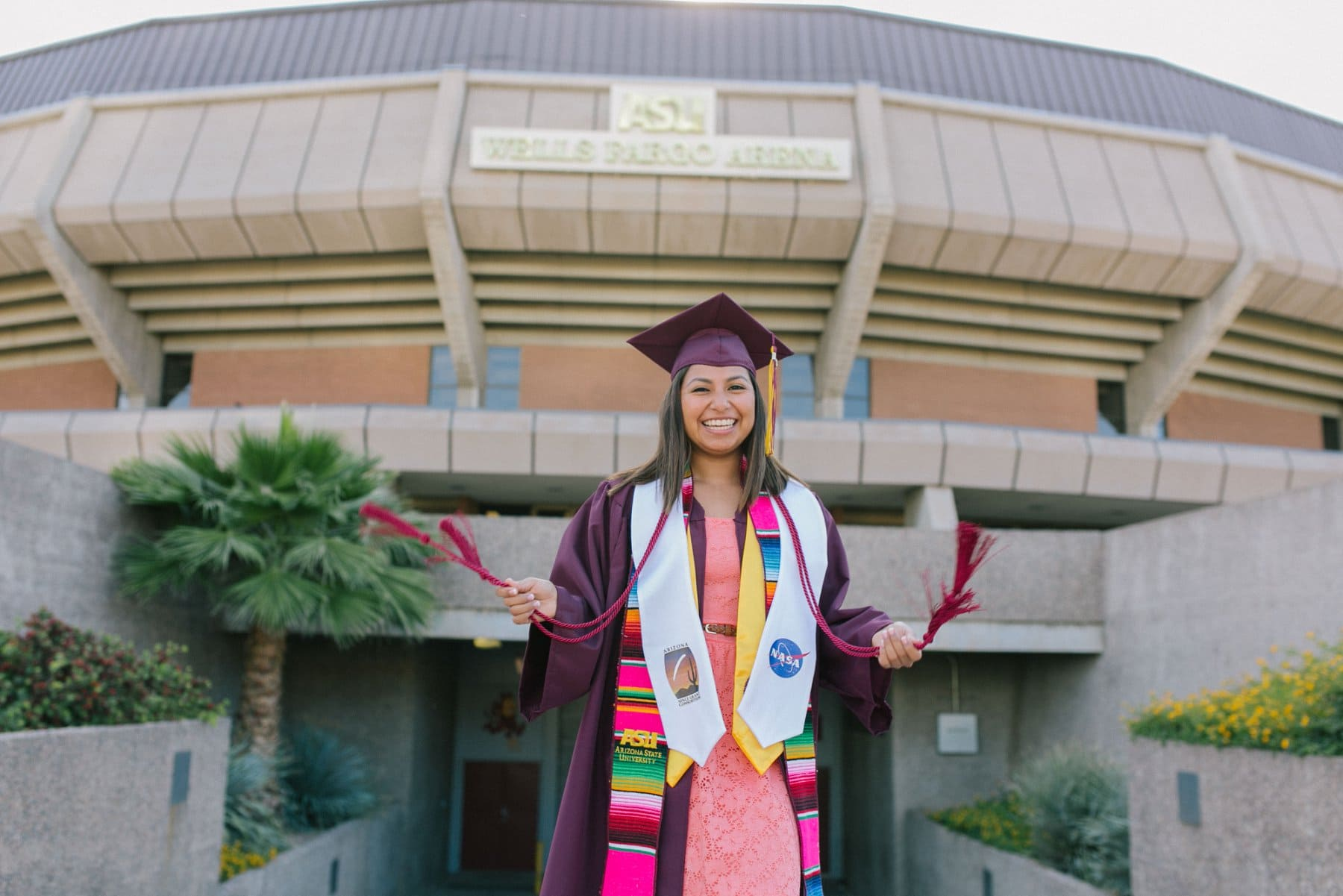 Arizona State University college grad with hispanic convocation sash