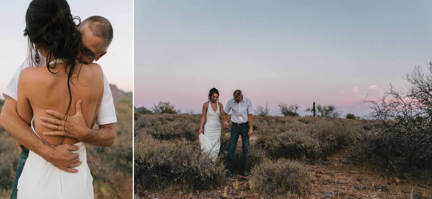 sunset desert elopement in Arizona Superstitions
