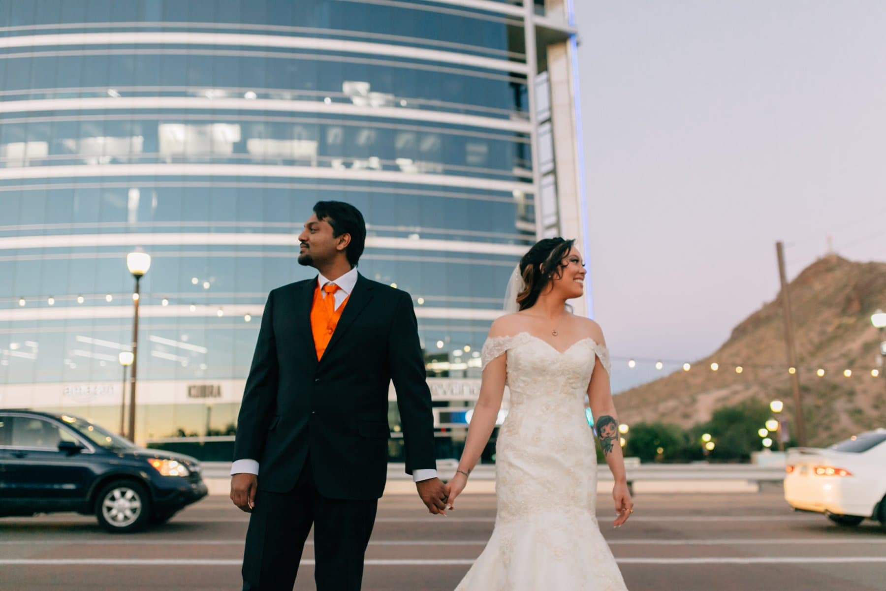 Tempe Town Lake bride and groom portraits at twilight