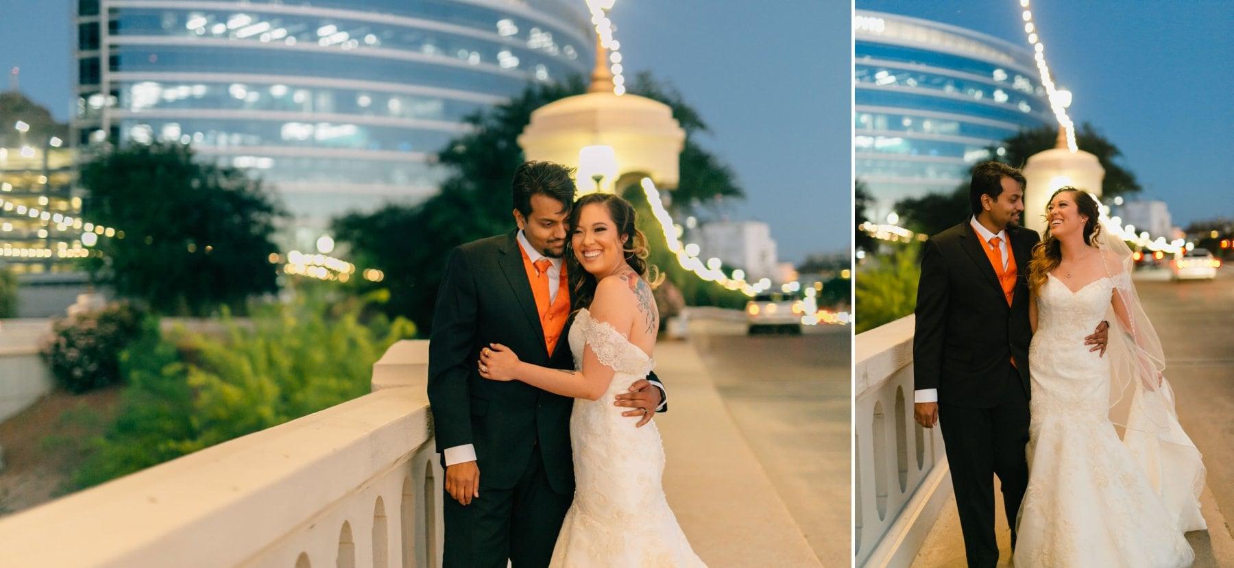 Tempe Town Lake wedding photos at night