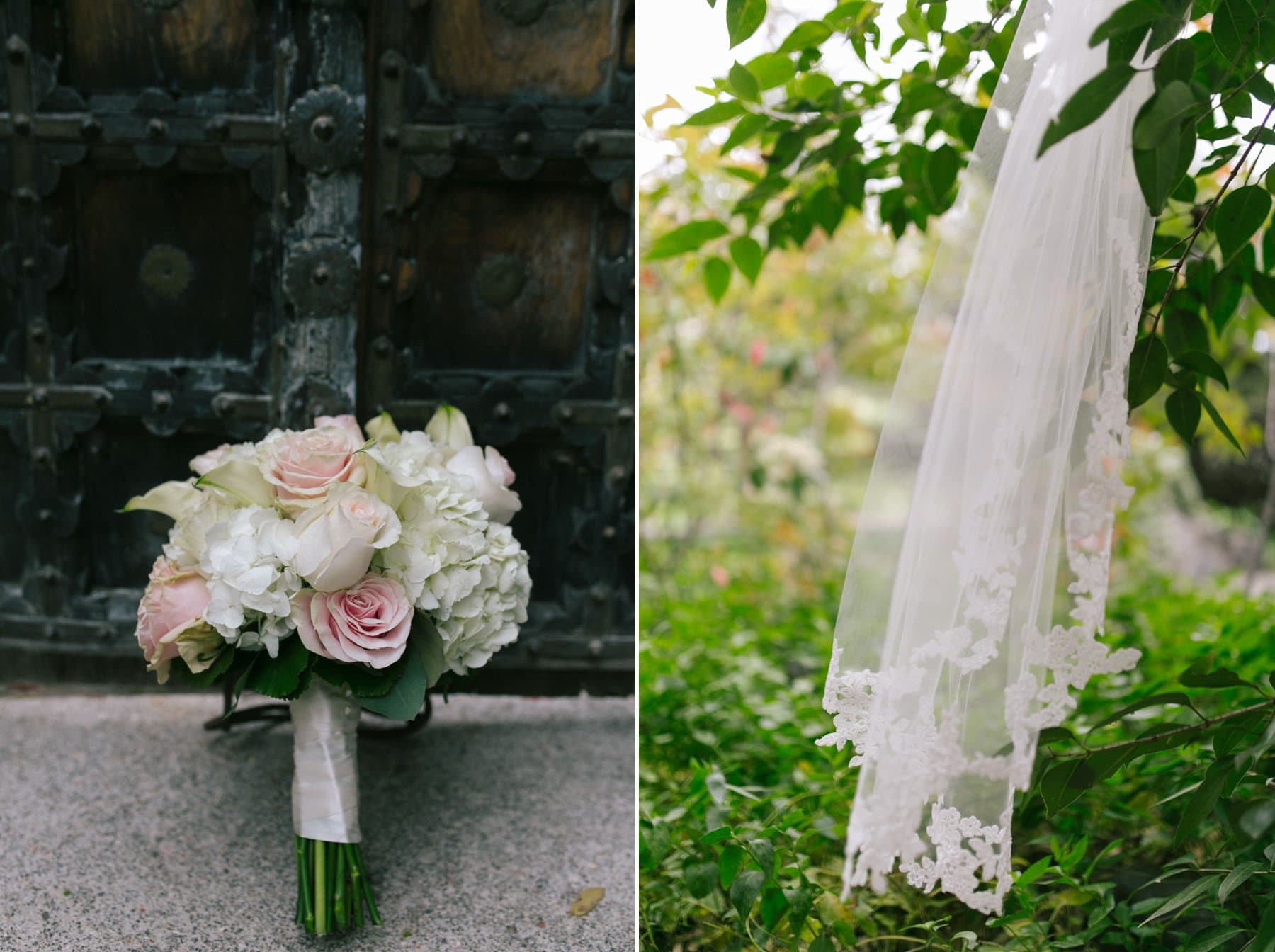 pink and white rose and hydragea bouquet and veil Sedona AZ wedding