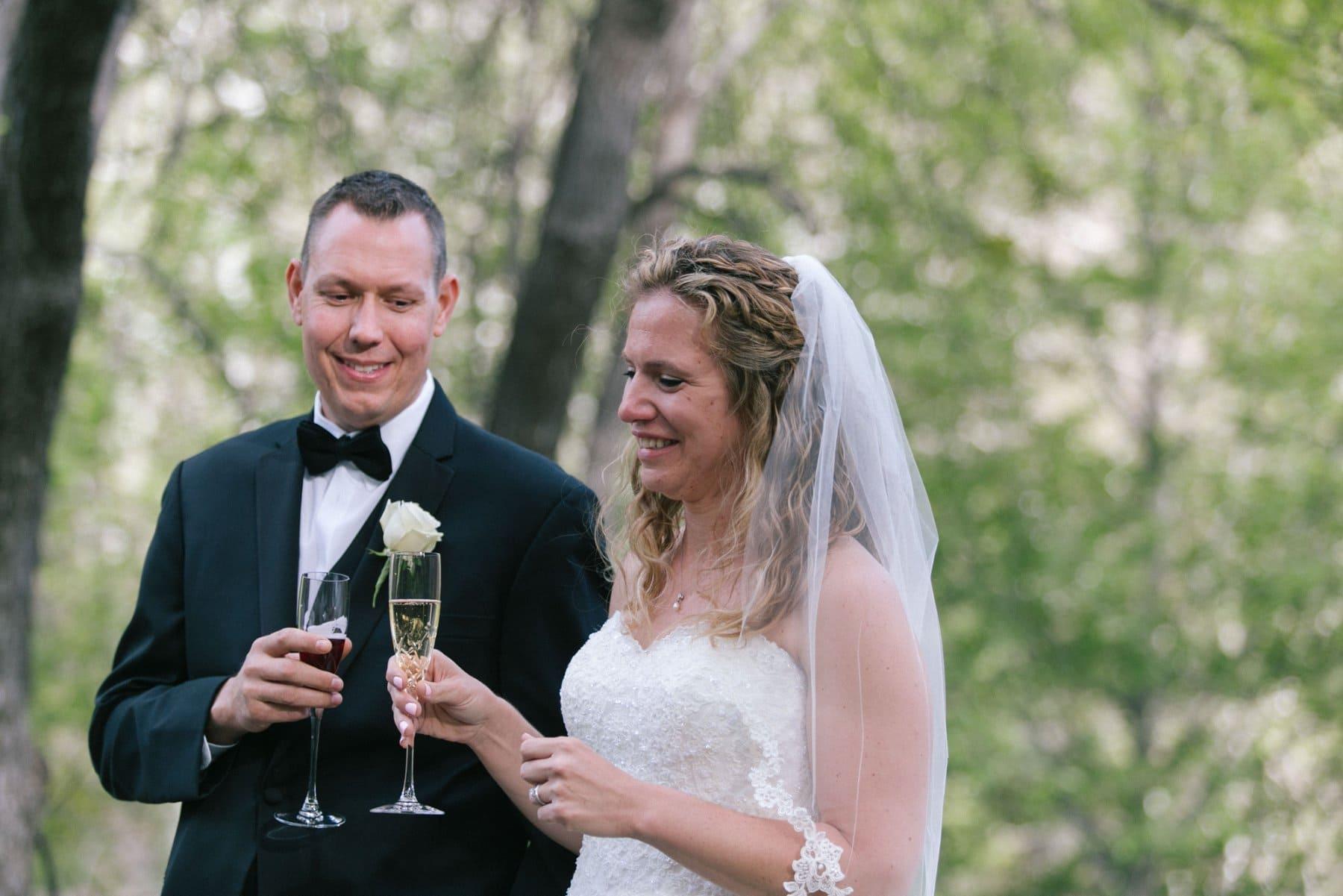 Briar Patch Inn bride & groom toasting