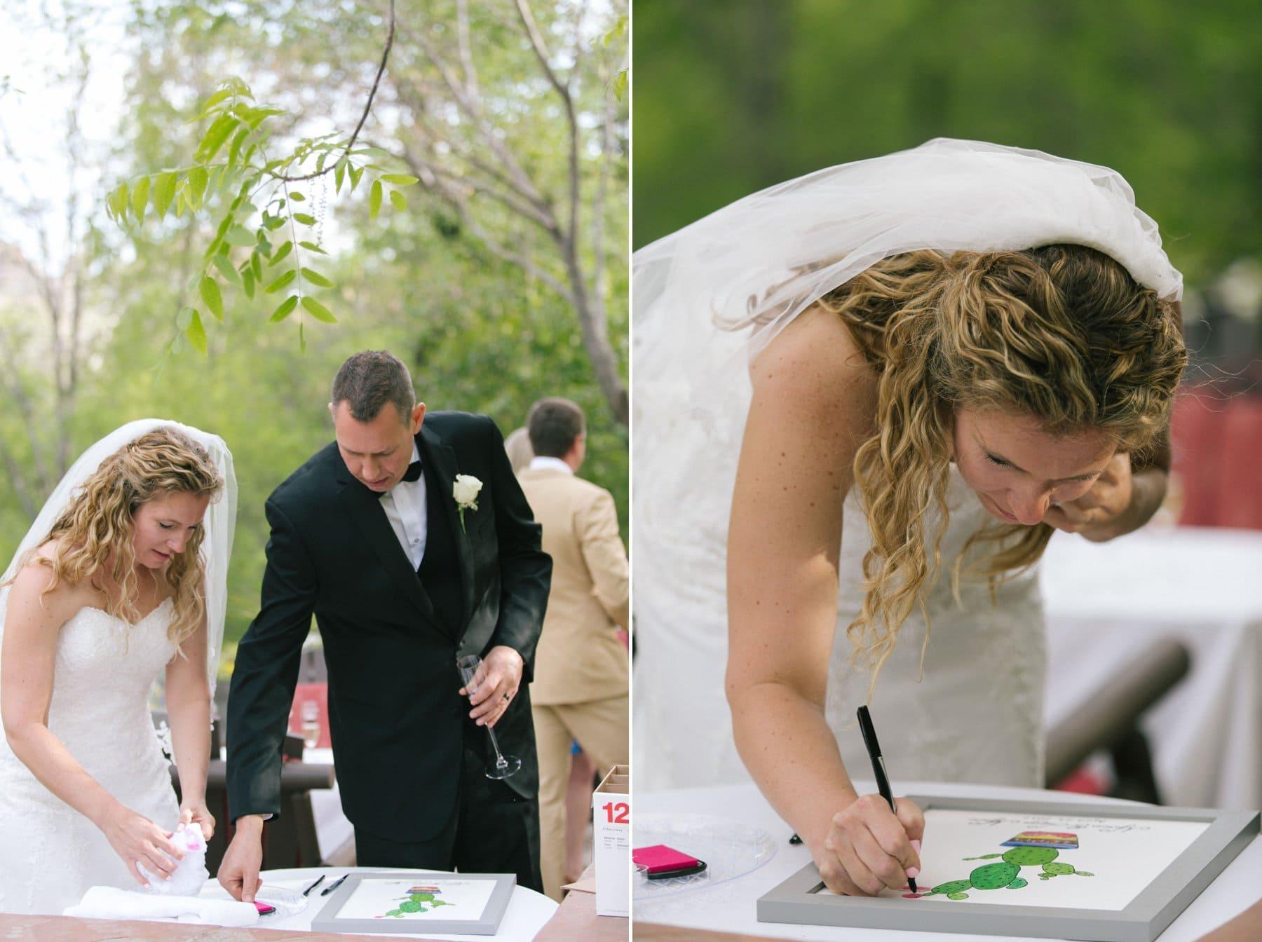 Sedona wedding Briar Patch Inn prickly pear thumbprint wedding guest book