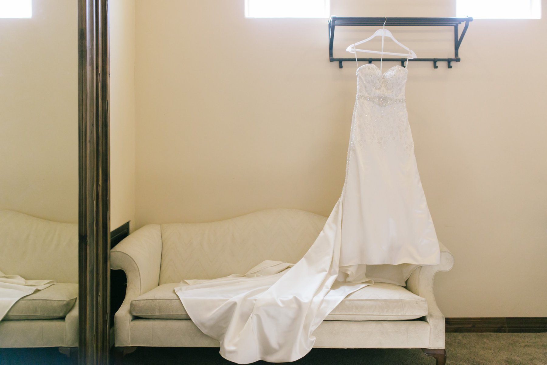 Superstition Manor bridal suite wedding dress hanging