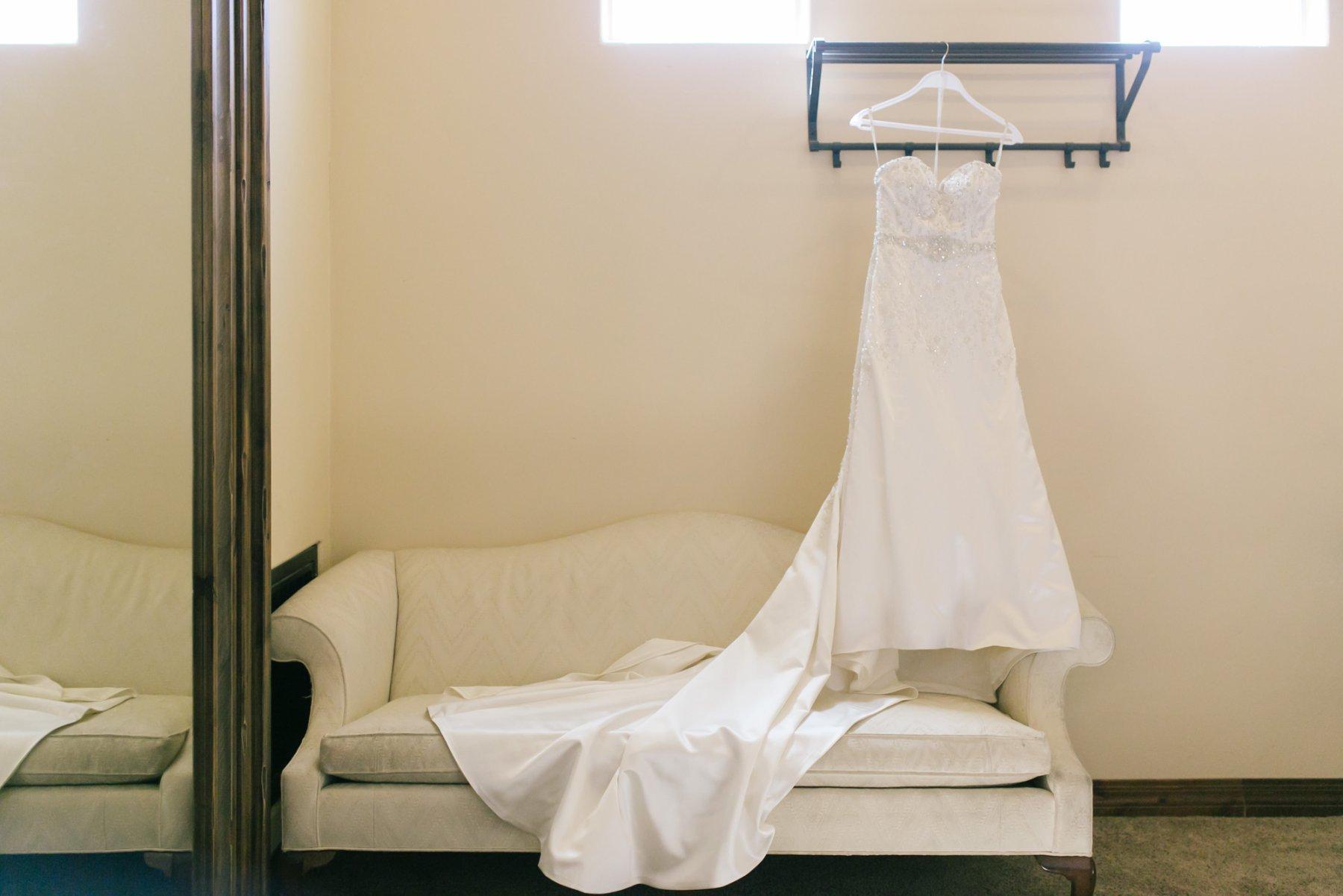 Superstition Manor bridal suite wedding dress hanging