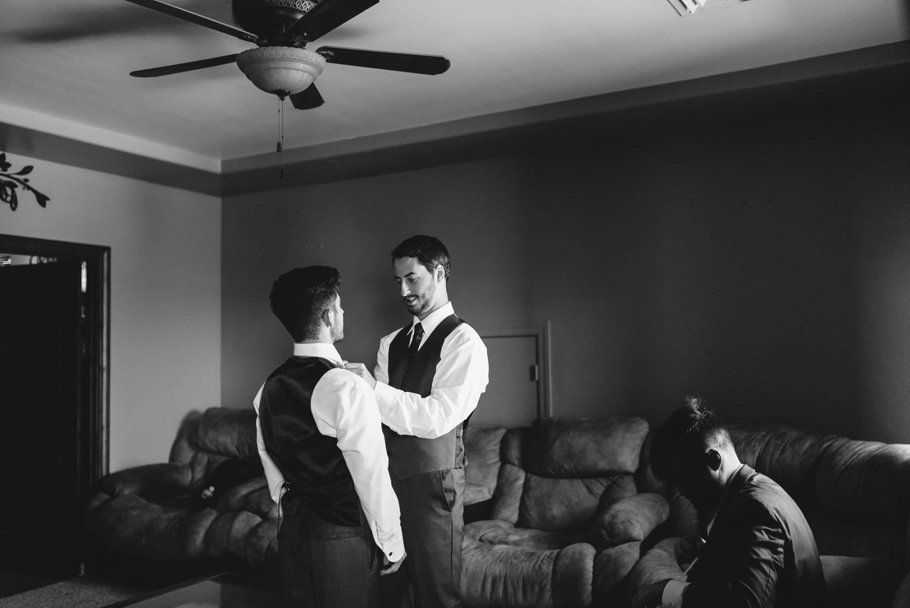 groomsmen getting ready at Superstition Manor