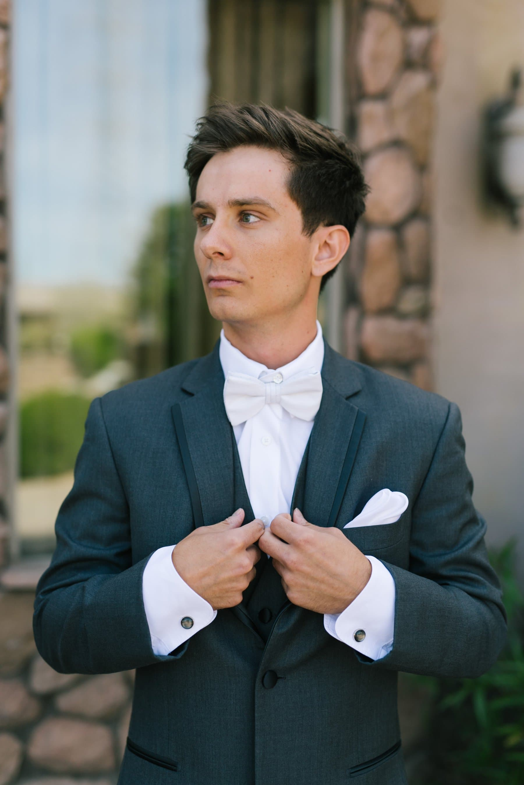 groom at Superstition Manor Mesa AZ wedding photos