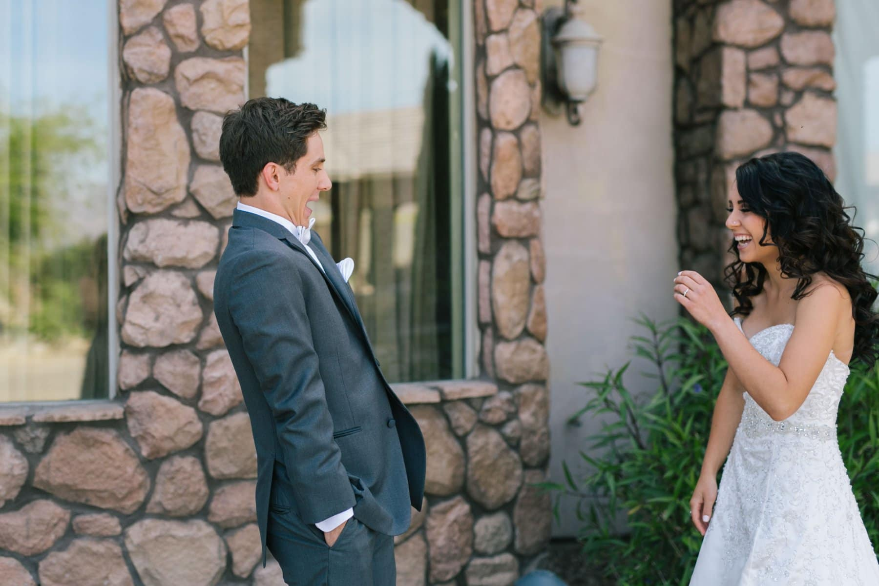 Mesa AZ Superstition Manor wedding groom seeing bride for first time