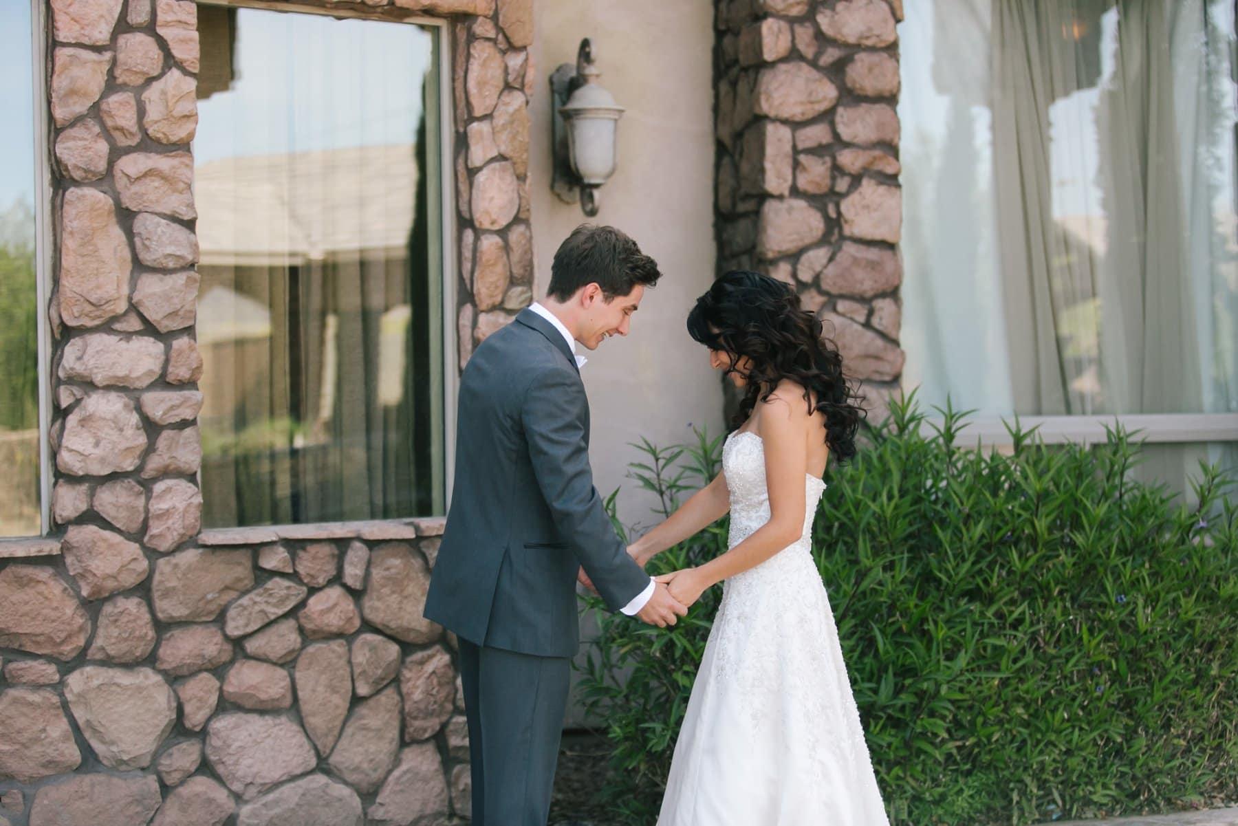 Superstition Manor wedding bride & groom first look