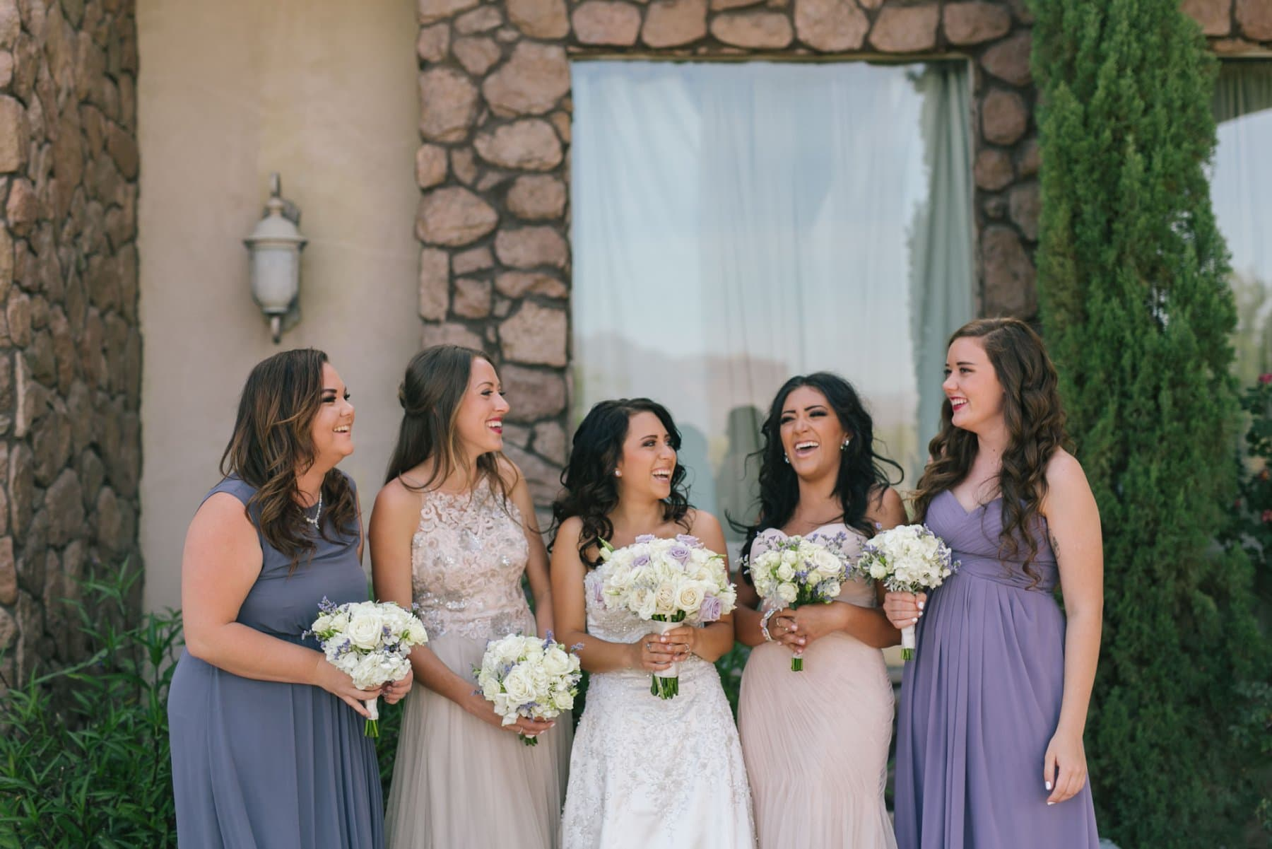 Superstition Manor Mesa AZ wedding blush and purple bridesmaids