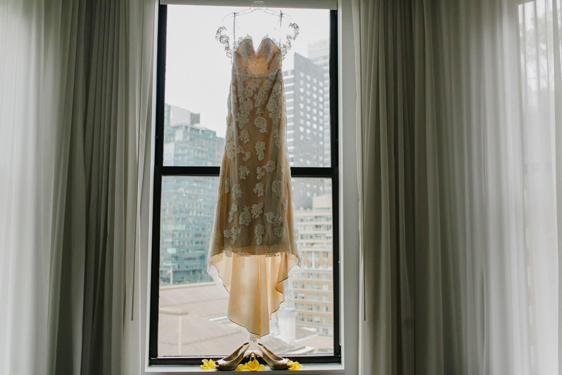 BHLDN wedding dress in window of Bryant Park Hotel in Manhattan
