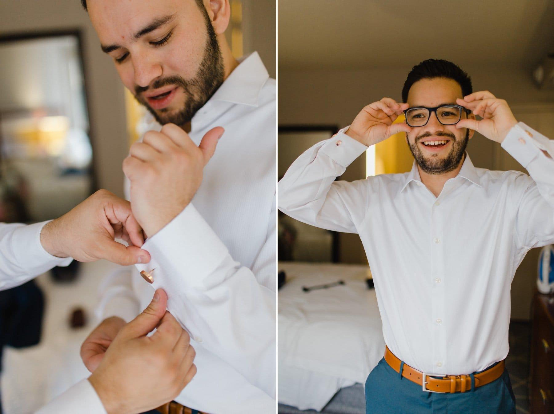 groom putting on cufflinks & glasses for Manhattan wedding at Bryant Park