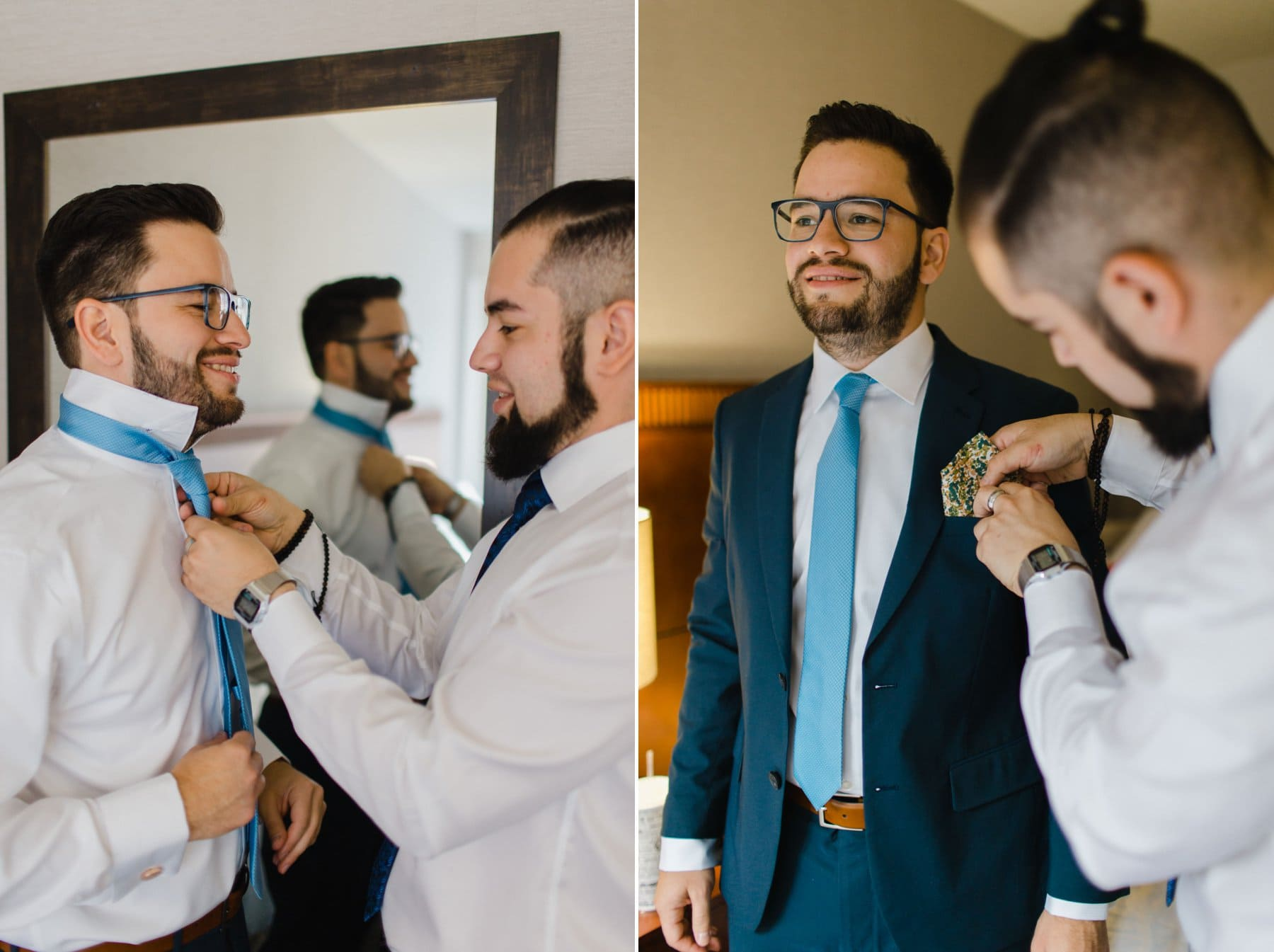 groom getting ready for Bryant Park Grill wedding New York City