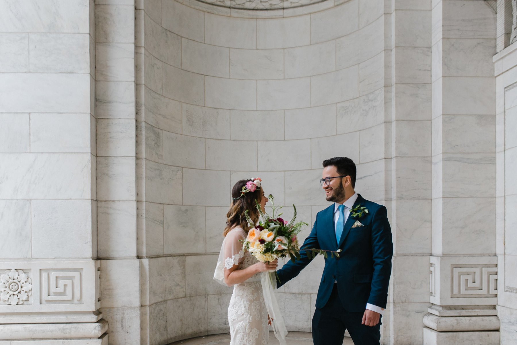 bride & groom first look wedding at New York Public Library Bryant Park