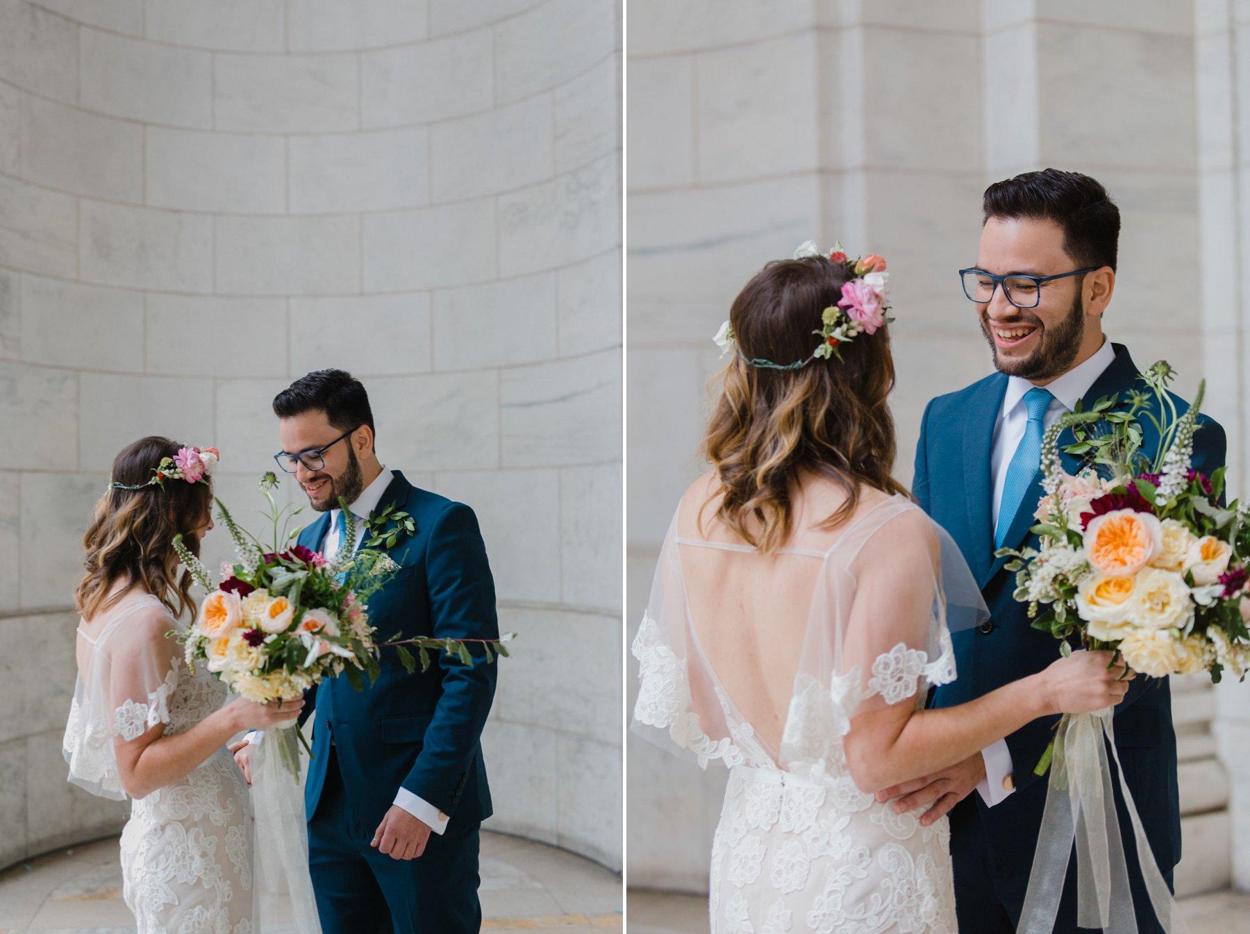 boho bride & groom at Bryant Park New York City