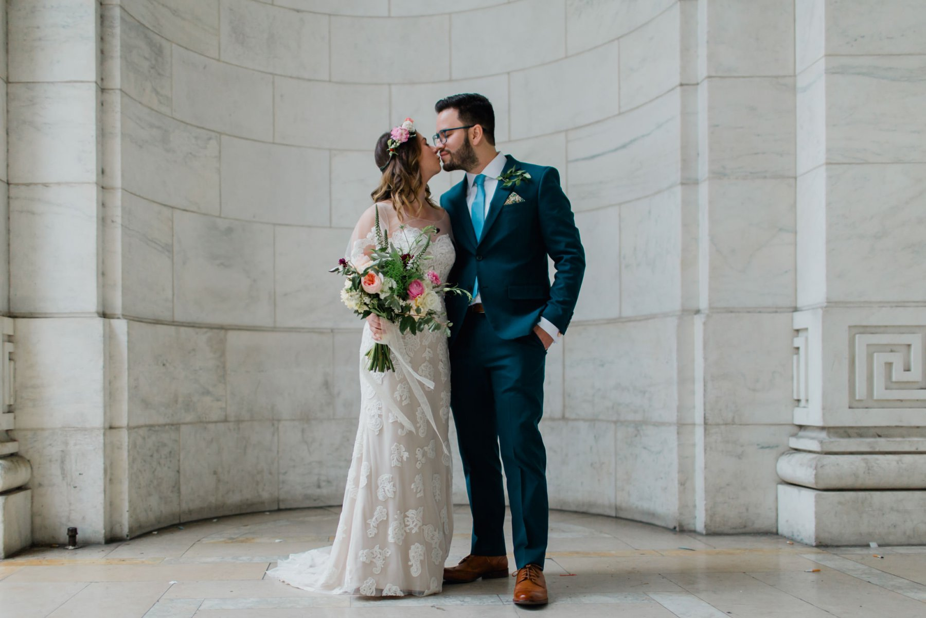 elegant boho bride & groom at New York Public Library Manhattan