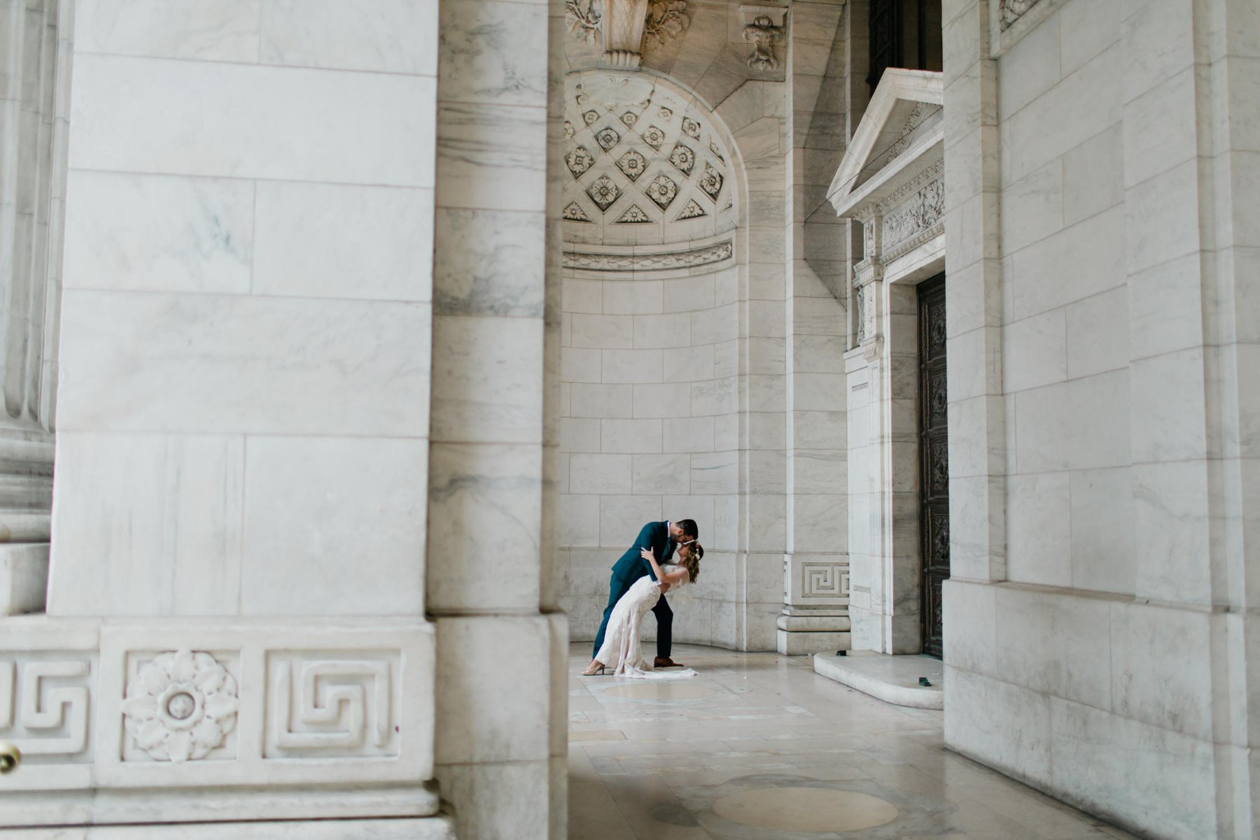 bride & groom at New York Public Library