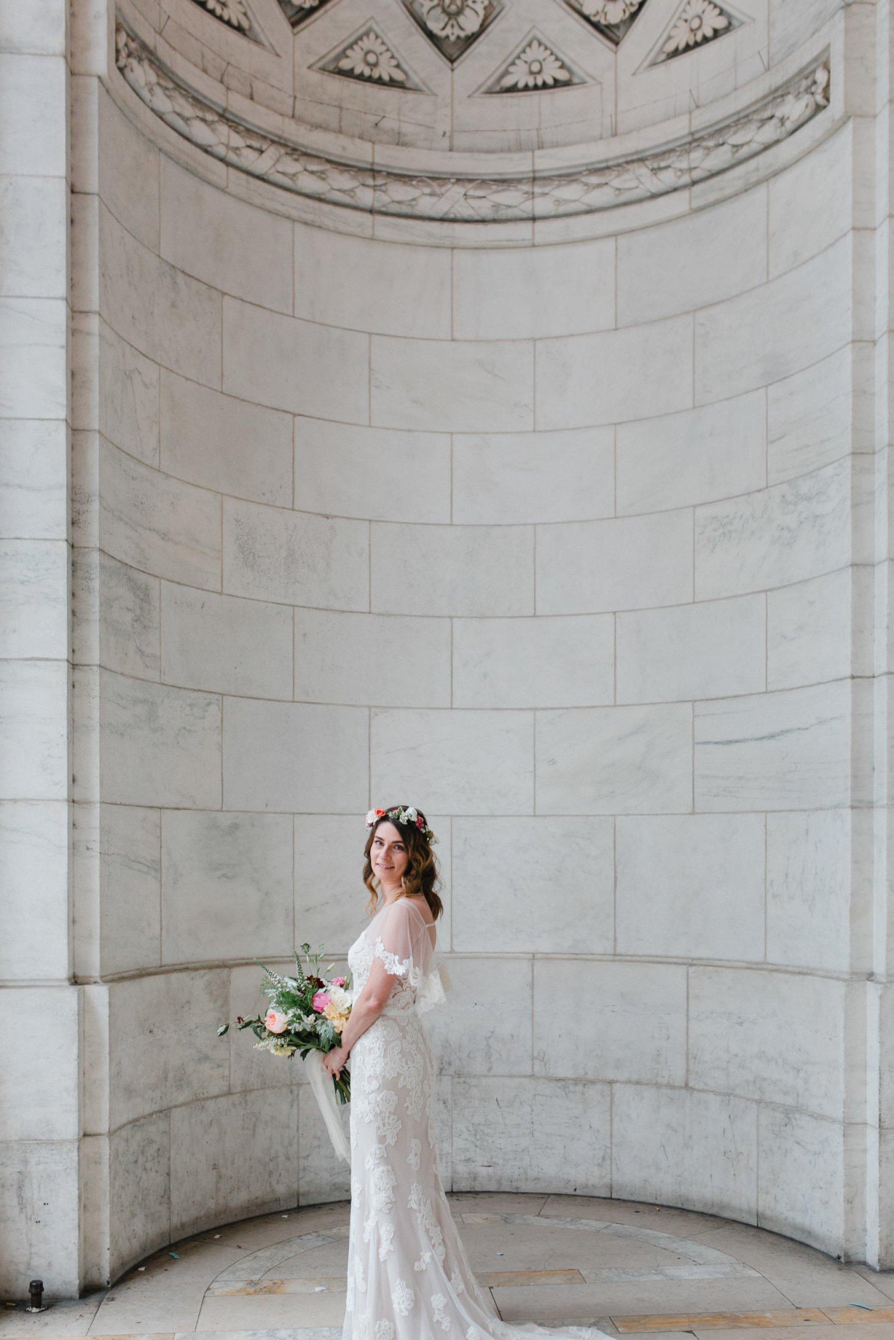 boho bride in BHLDN dress at New York Public Library Manhattan