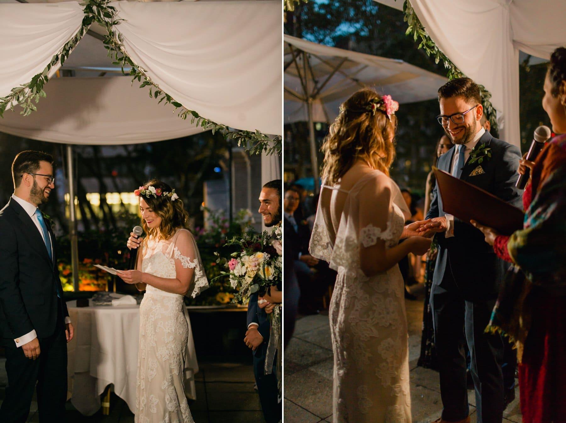 evening wedding ceremony at Bryant Park Grill Manhattan