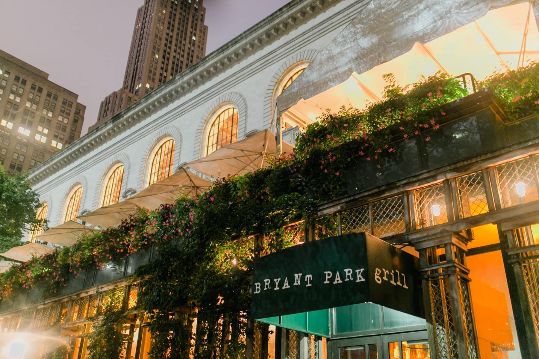 Bryant Park Grill Manhattan New York City at night in the rain